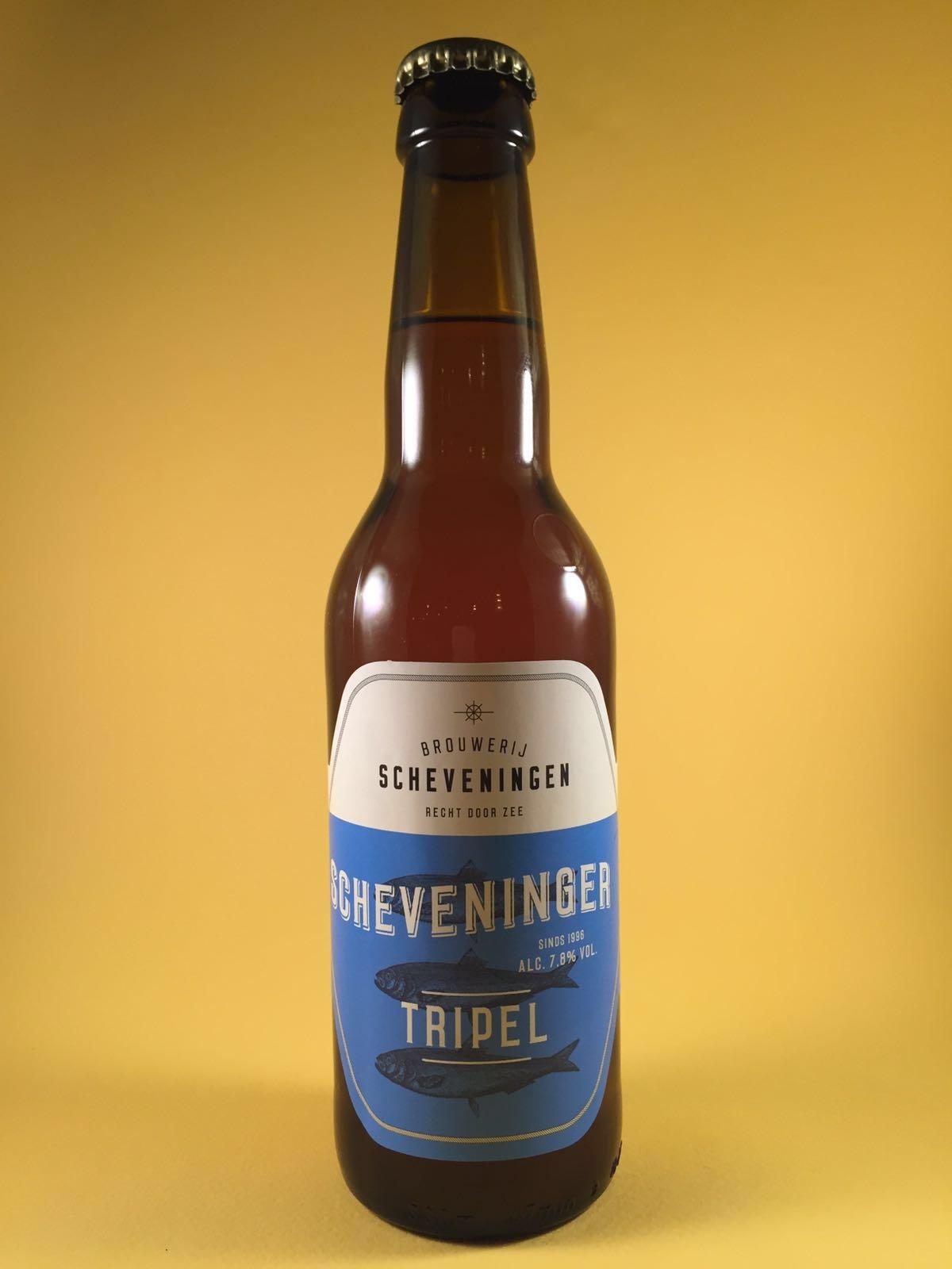 Scheveninger Tripel Herkomst: Scheveningen, Nederland. Dit goudgeel biertje is een echte tripel. Volle smaak die ook lekker blijft hangen. Door dry-hoppingmethode toe te passen heeft het bier een volle aroma van tropisch fruit. Het bier heeft een alcoholpercentage van 7,8% en een serveertemperatuur van 10 graden