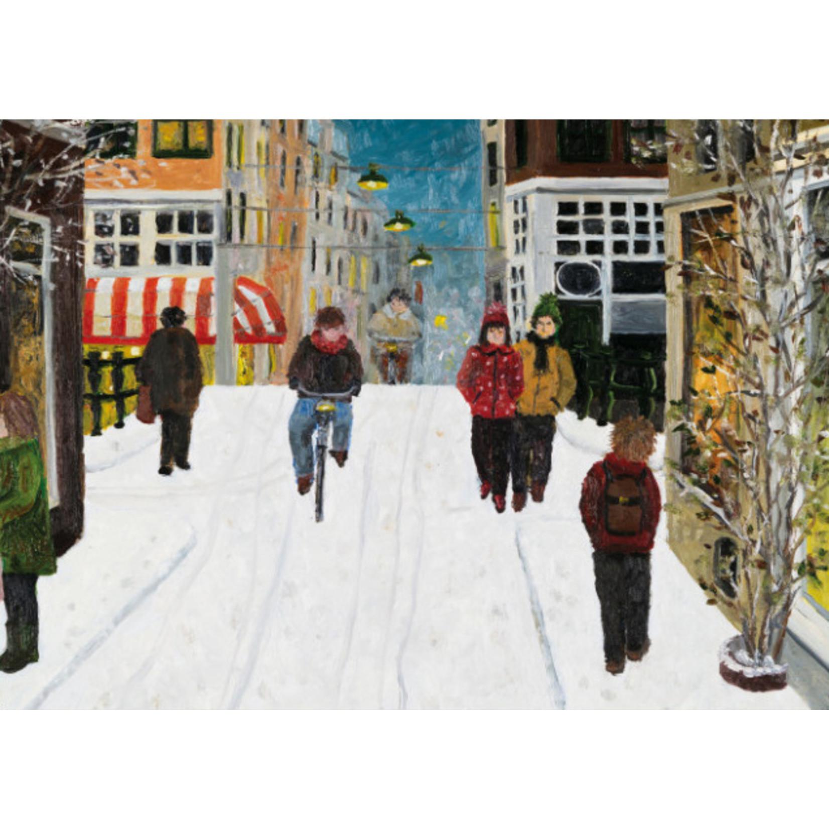 Bekking & Blitz Kaart Snow in town (fietser) van Laetitia de Haas
