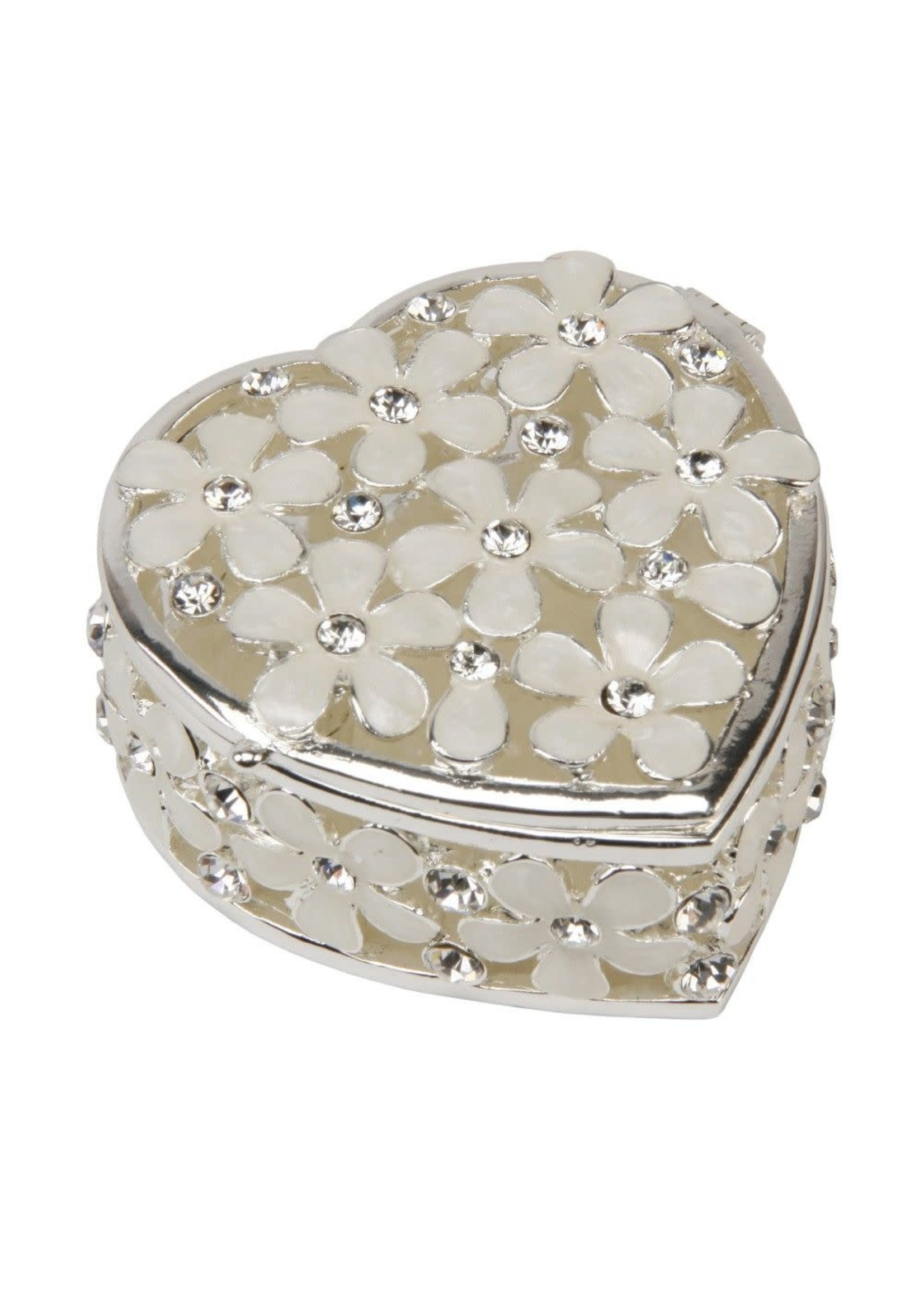 SILVERPLATED TRINKET BOX - FLORAL HEART