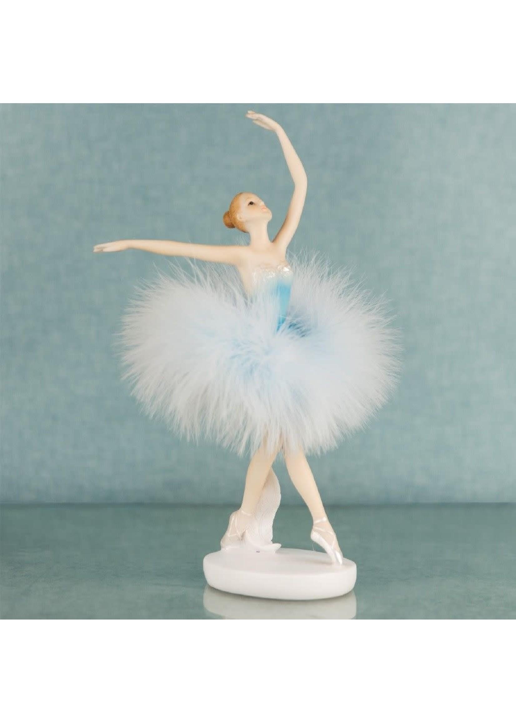 BALLERINA DANCER RESIN FIGURINE IN BLUE DRESS 23.5CM