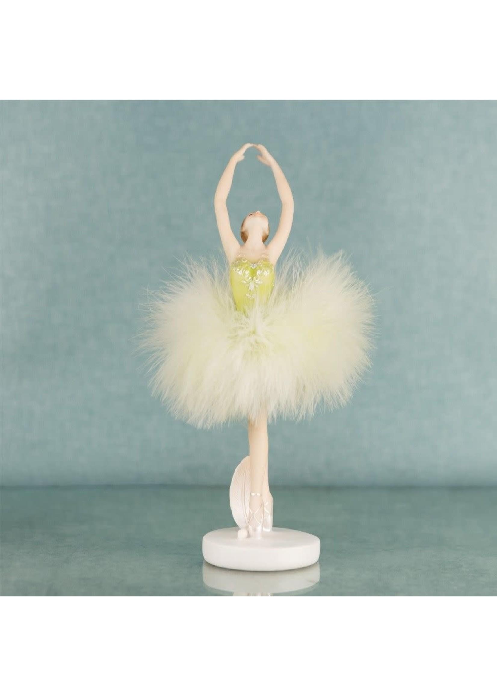 BALLERINA DANCER RESIN FIGURINE IN GREEN DRESS 23.5CM