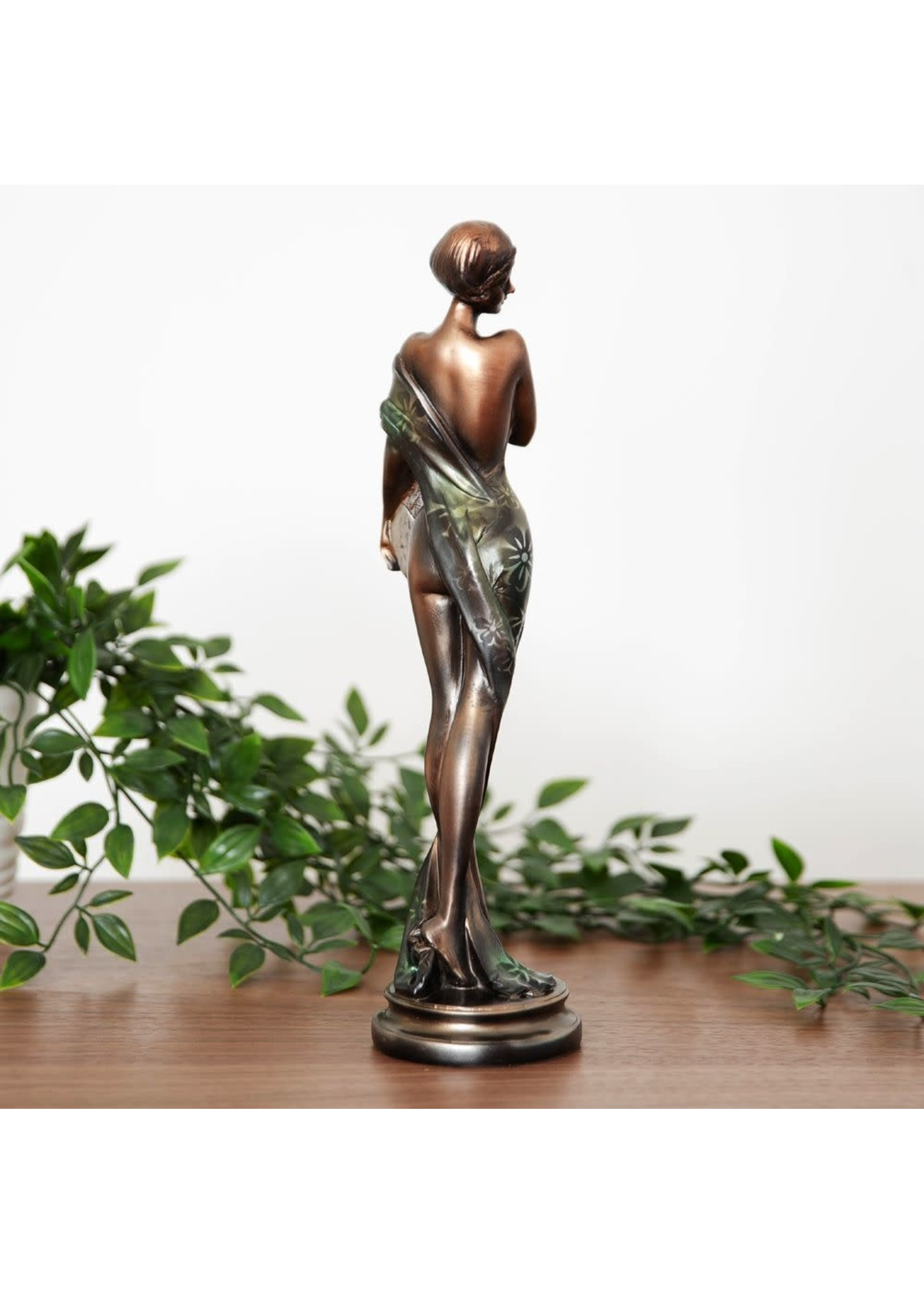 SILHOUETTE COLLECTION LADY FIGURINE BRONZE & GREEN 32.5CM