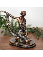 SILHOUETTE COLLECTION LADY FIGURINE BRONZE & GREEN 20CM