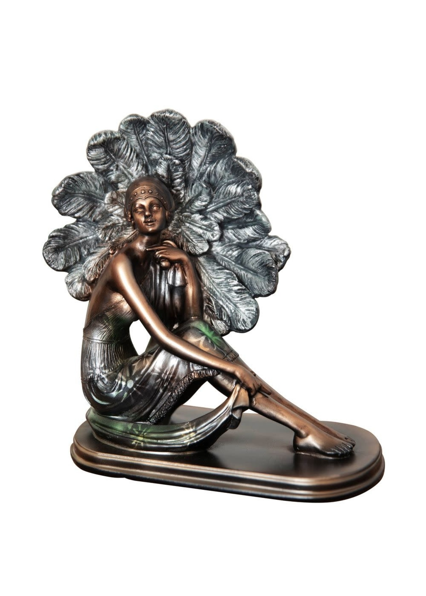 SILHOUETTE COLLECTION LADY FIGURINE BRONZE & GREEN 21CM