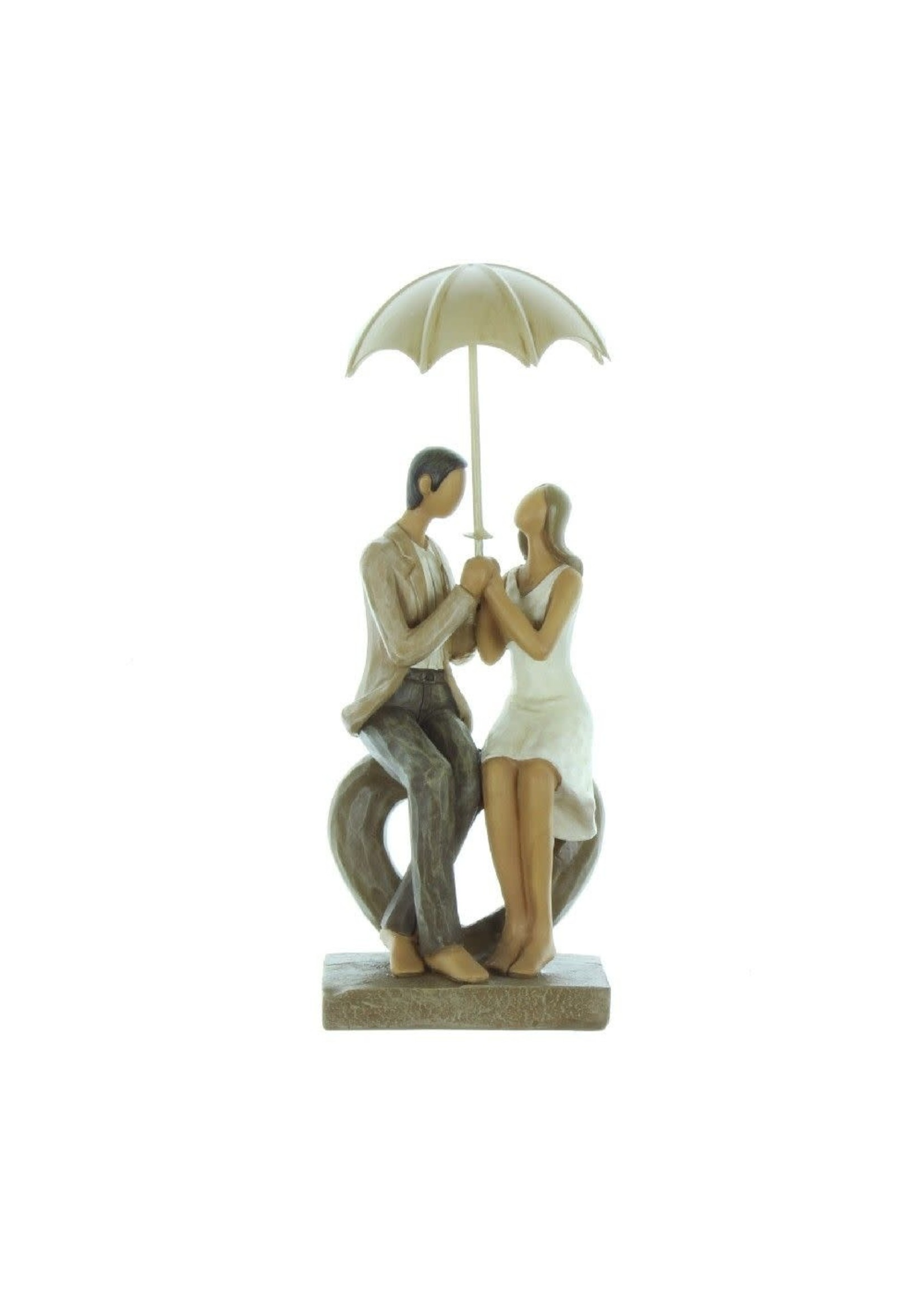 RAINY DAY COLLECTION RESIN FIGURINE - COUPLE SEATED