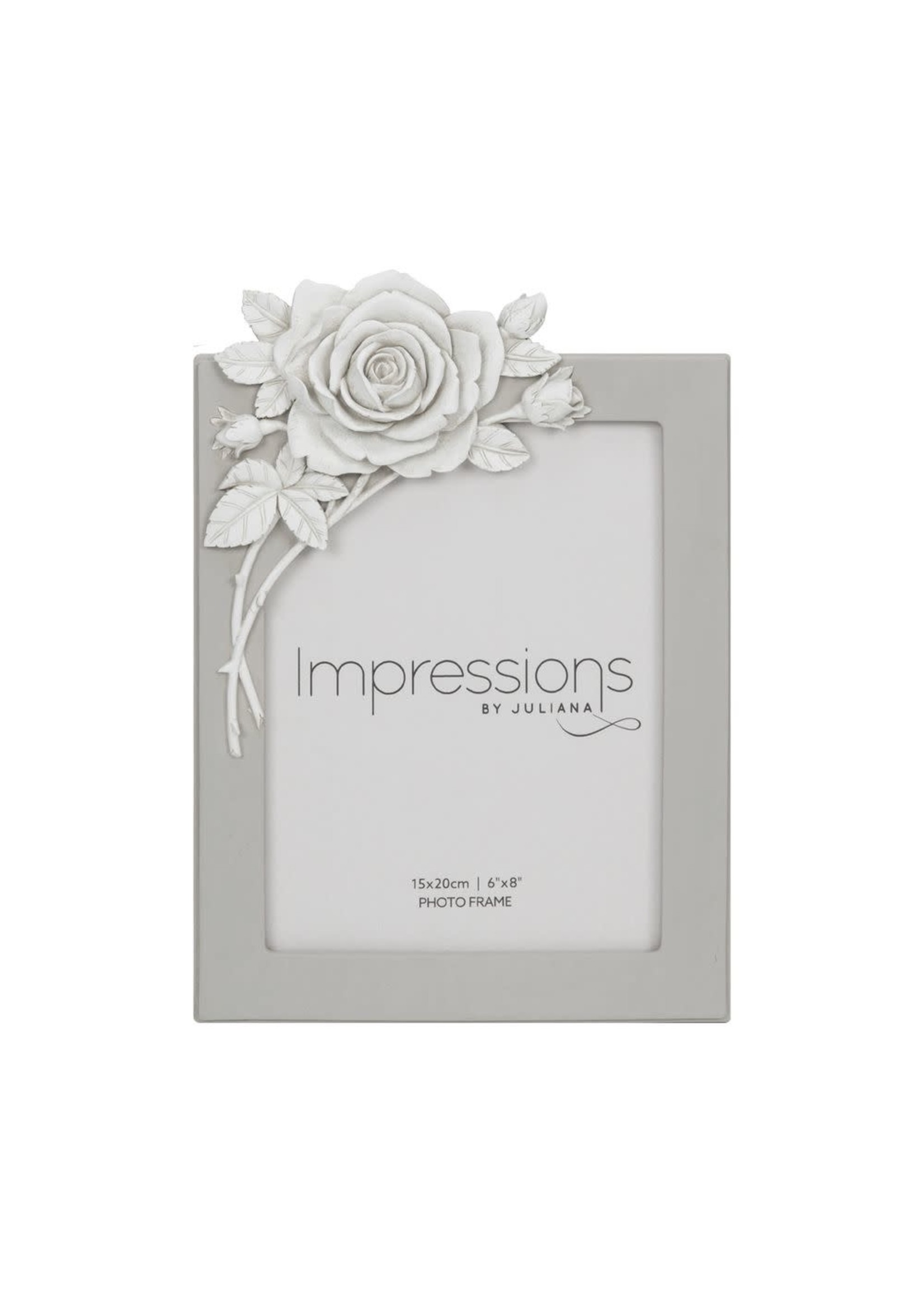 """6"""" X 8"""" - IMPRESSIONS GREY RESIN PHOTO FRAME WITH ROSE"""