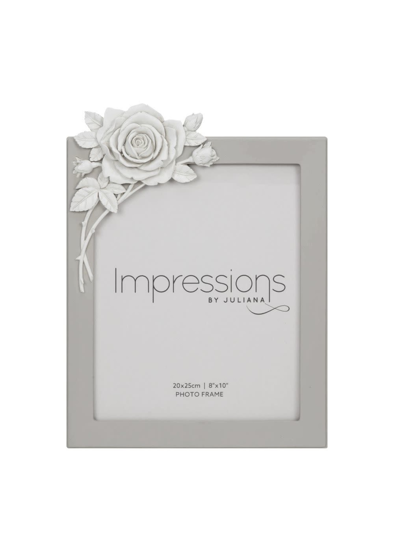 """8"""" X 10"""" - IMPRESSIONS GREY RESIN PHOTO FRAME WITH ROSE"""