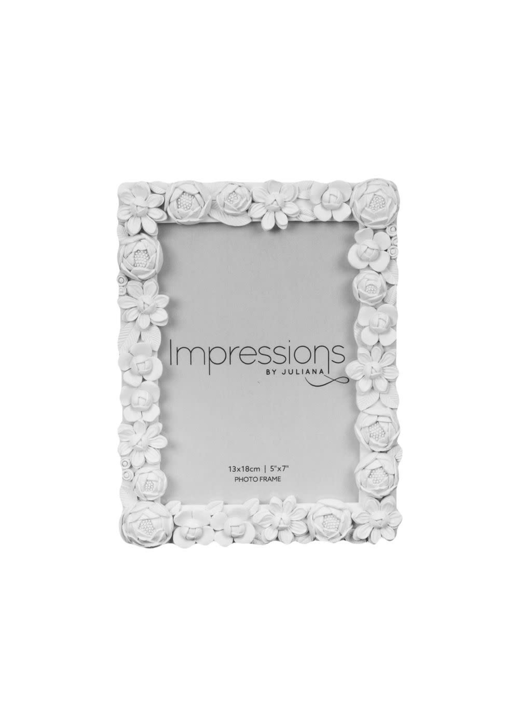 """5"""" X 7"""" - IMPRESSIONS WHITE RESIN FLORAL PHOTO FRAME"""