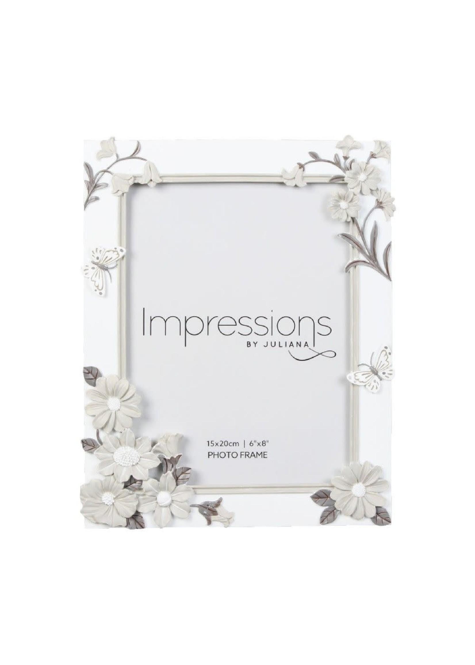 "6"" X 8"" - IMPRESSIONS WHITE FLORAL RESIN FRAME"