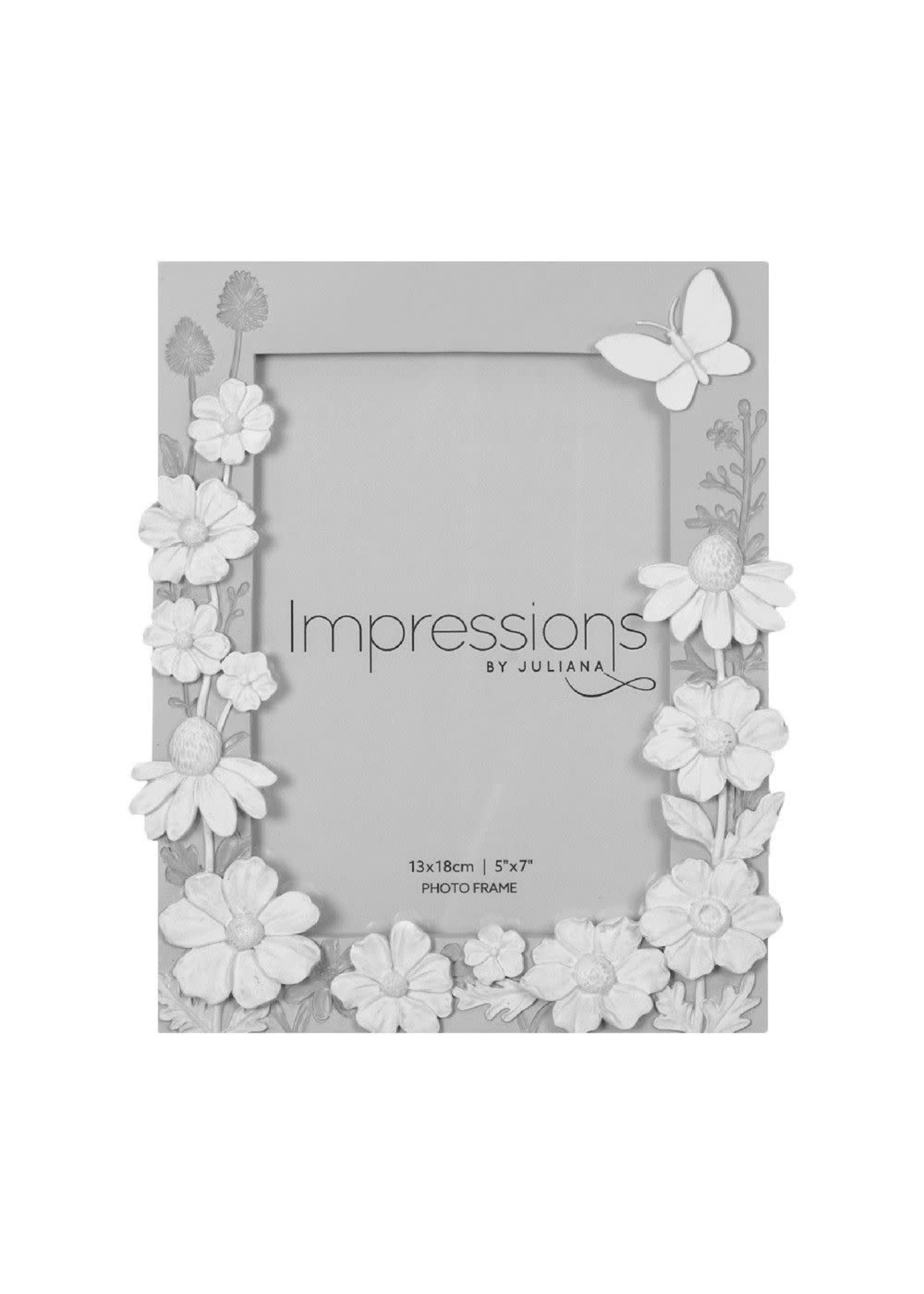 """5"""" X 7"""" - IMPRESSIONS GREY FLORAL RESIN FRAME WITH BUTTERFLY"""