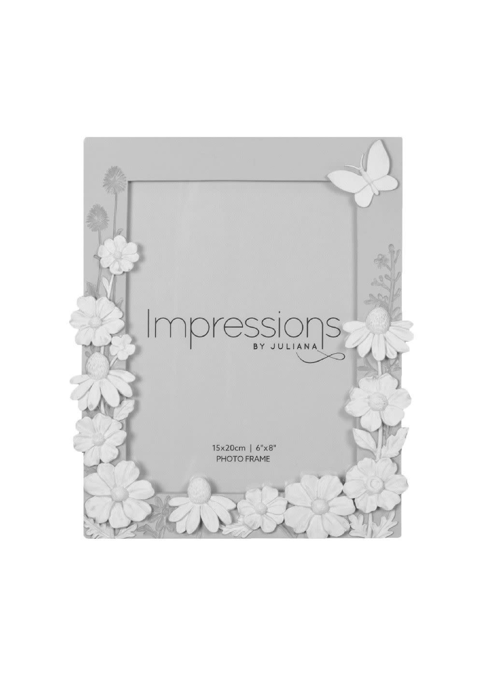 """6"""" X 8"""" - IMPRESSIONS GREY FLORAL RESIN FRAME WITH BUTTERFLY"""