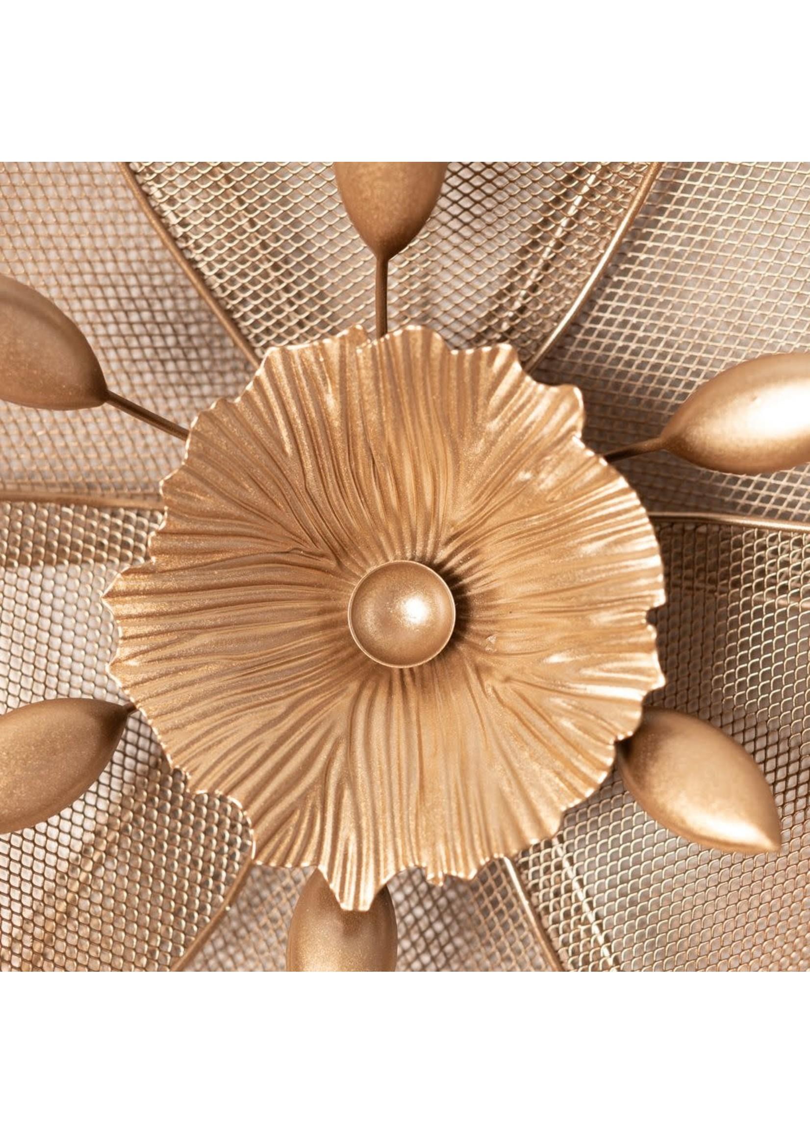 HESTIA REFINED GLAMOUR METAL FLOWER WALL ART GOLD 46CM
