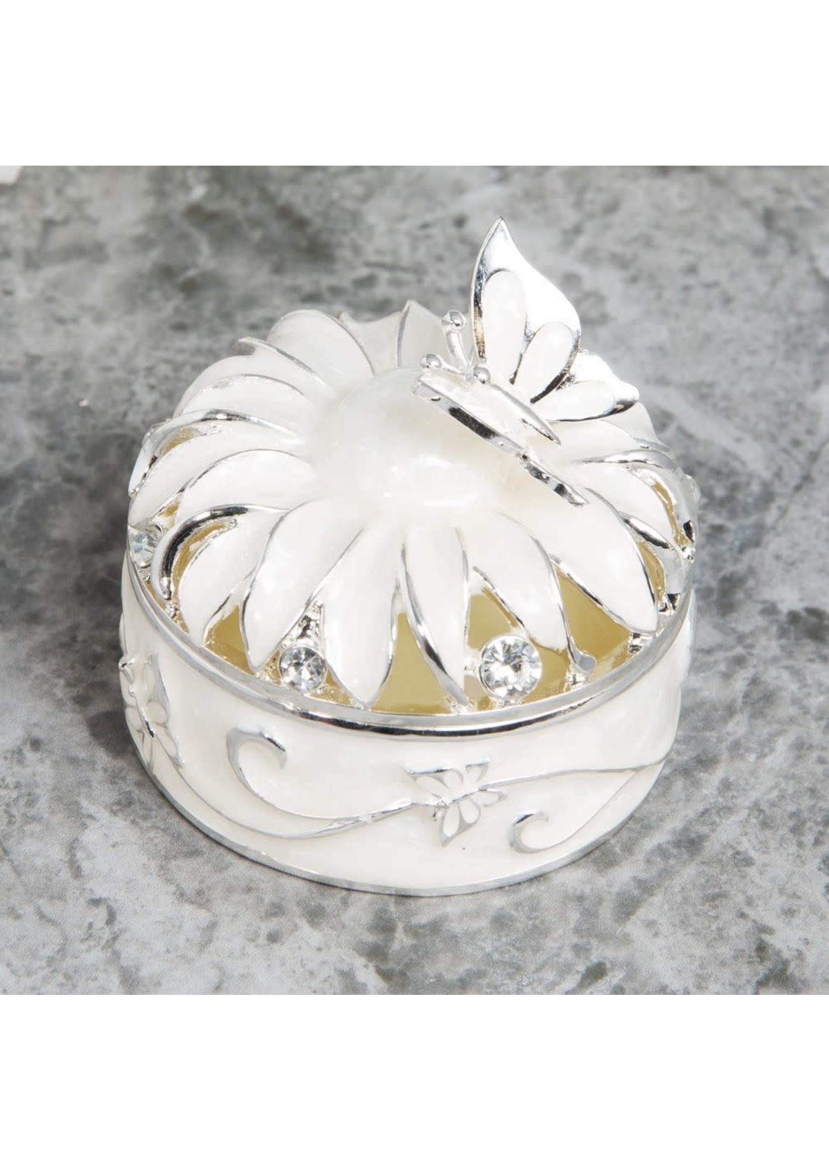 SOPHIA SILVERPLATE & EPOXY FLOWER TRINKET BOX