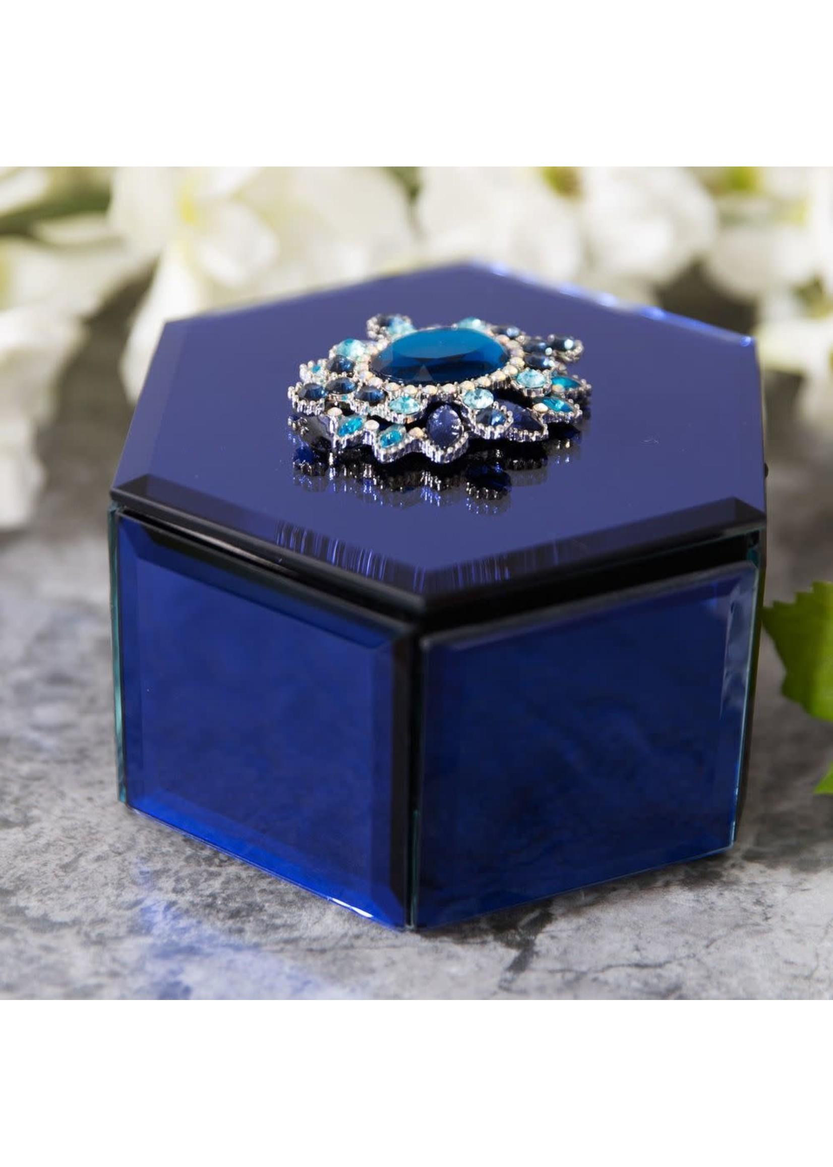 SOPHIA HEXAGONAL BLUE GLASS TRINKET BOX CRYSTAL FLOWERS
