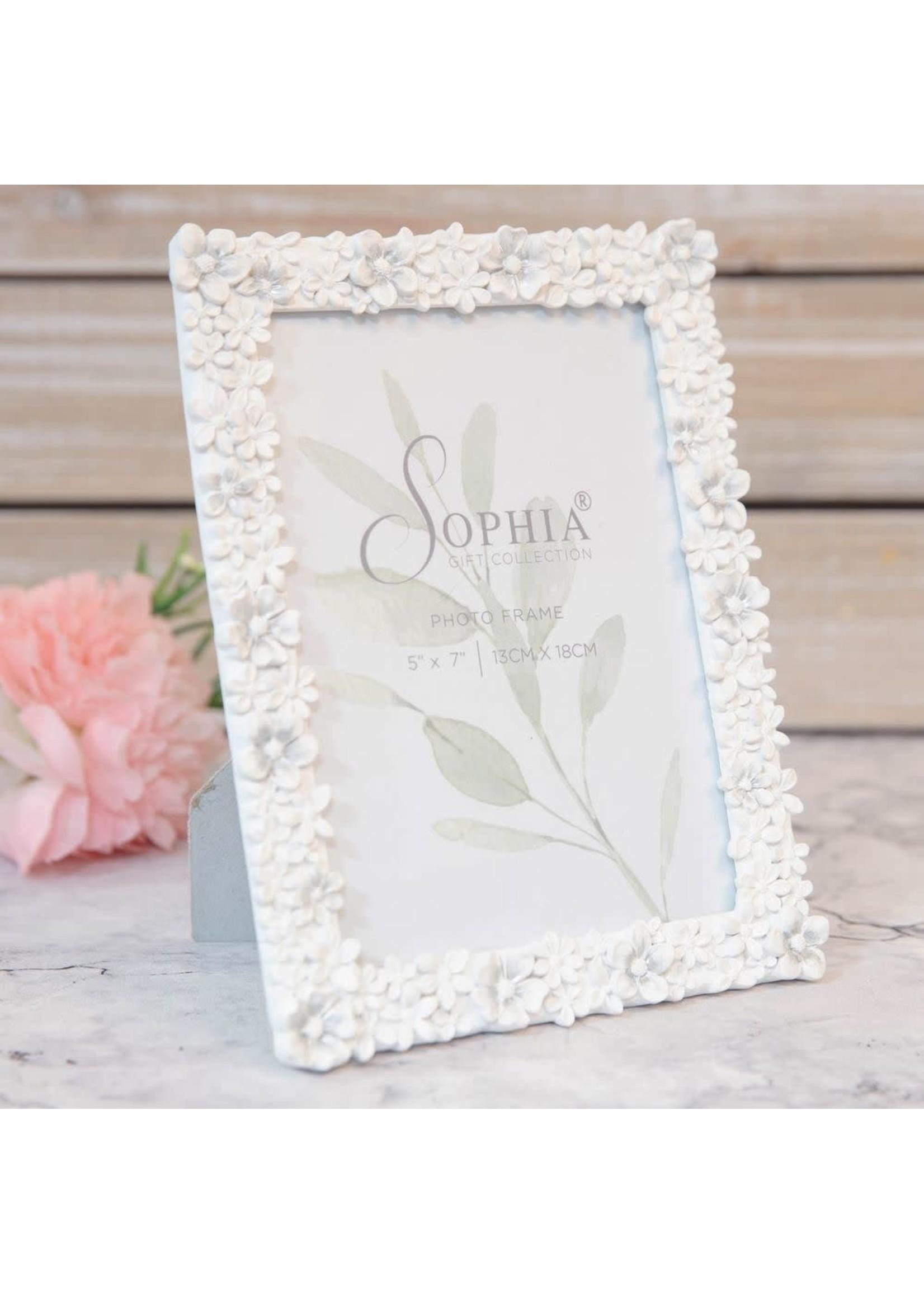 "5"" X 7"" - SOPHIA® WHITE FLORAL RESIN PHOTO FRAME"