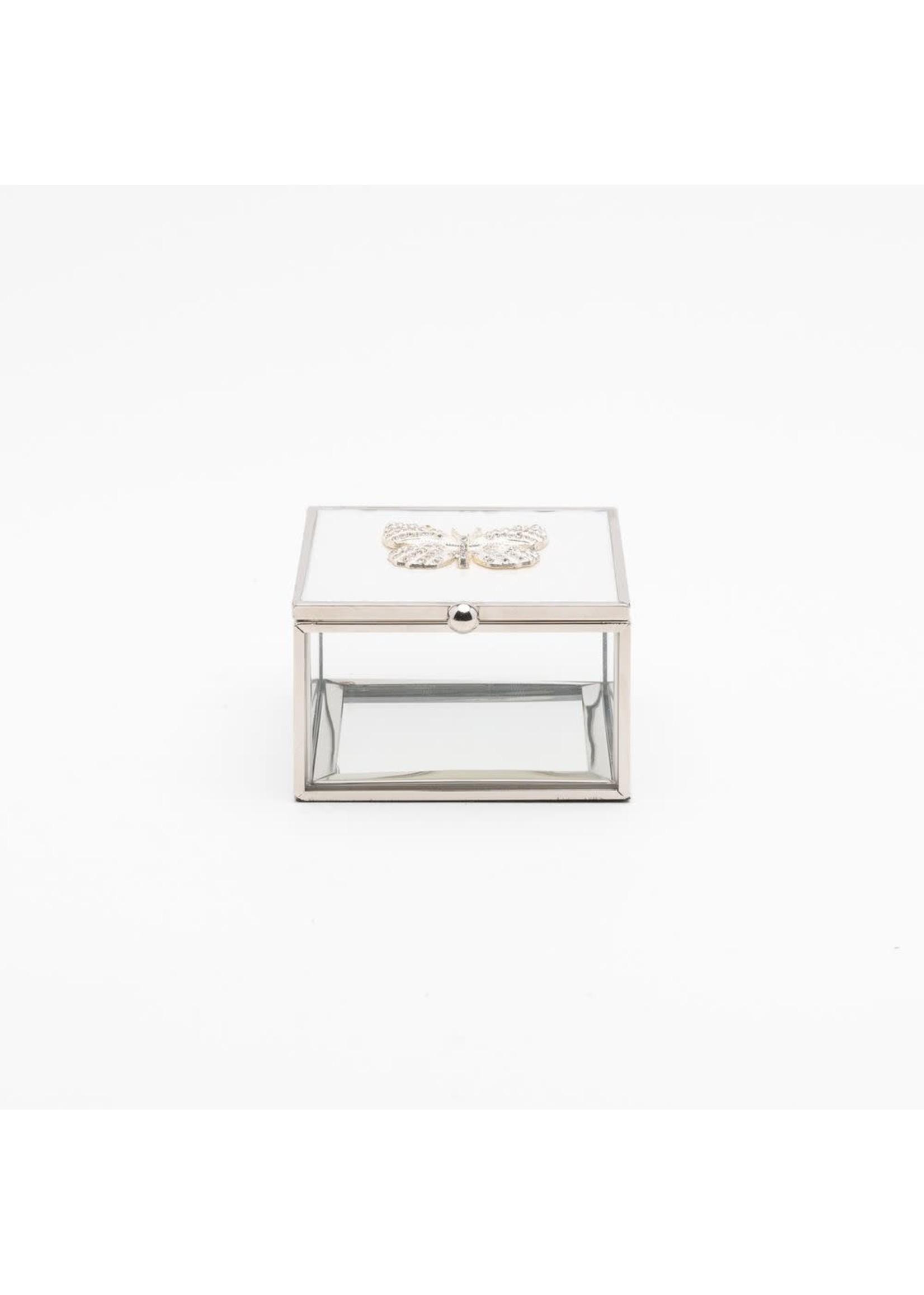 SOPHIA BUTTERFLY TRINKET BOX WITH WHITE ENAMEL & CRYSTALS