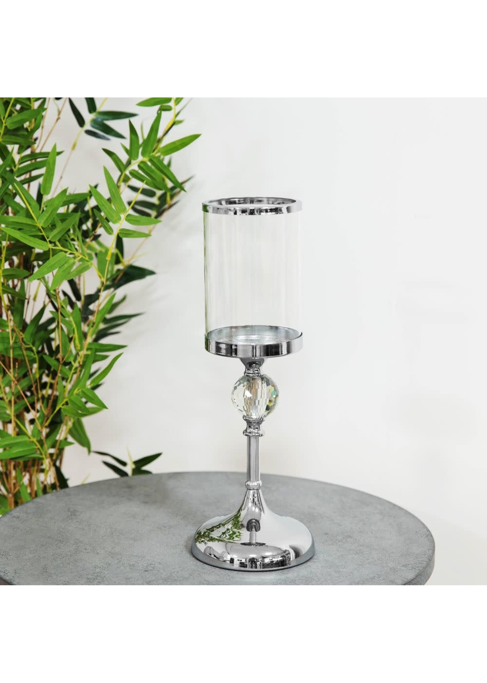 HESTIA® CHROME FINISH AND GLASS CANDLE HOLDER 23CM
