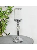 HESTIA® CHROME FINISH AND GLASS CANDLE HOLDER 41CM