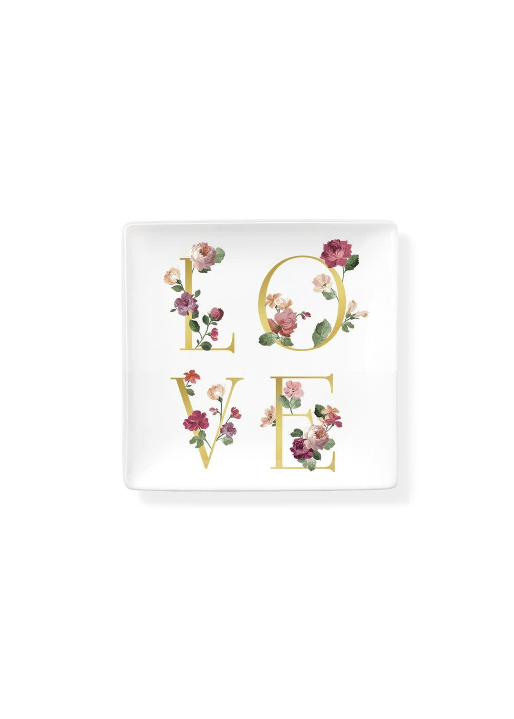 FLORAL 'LOVE' SQUARE TRINKET TRAY