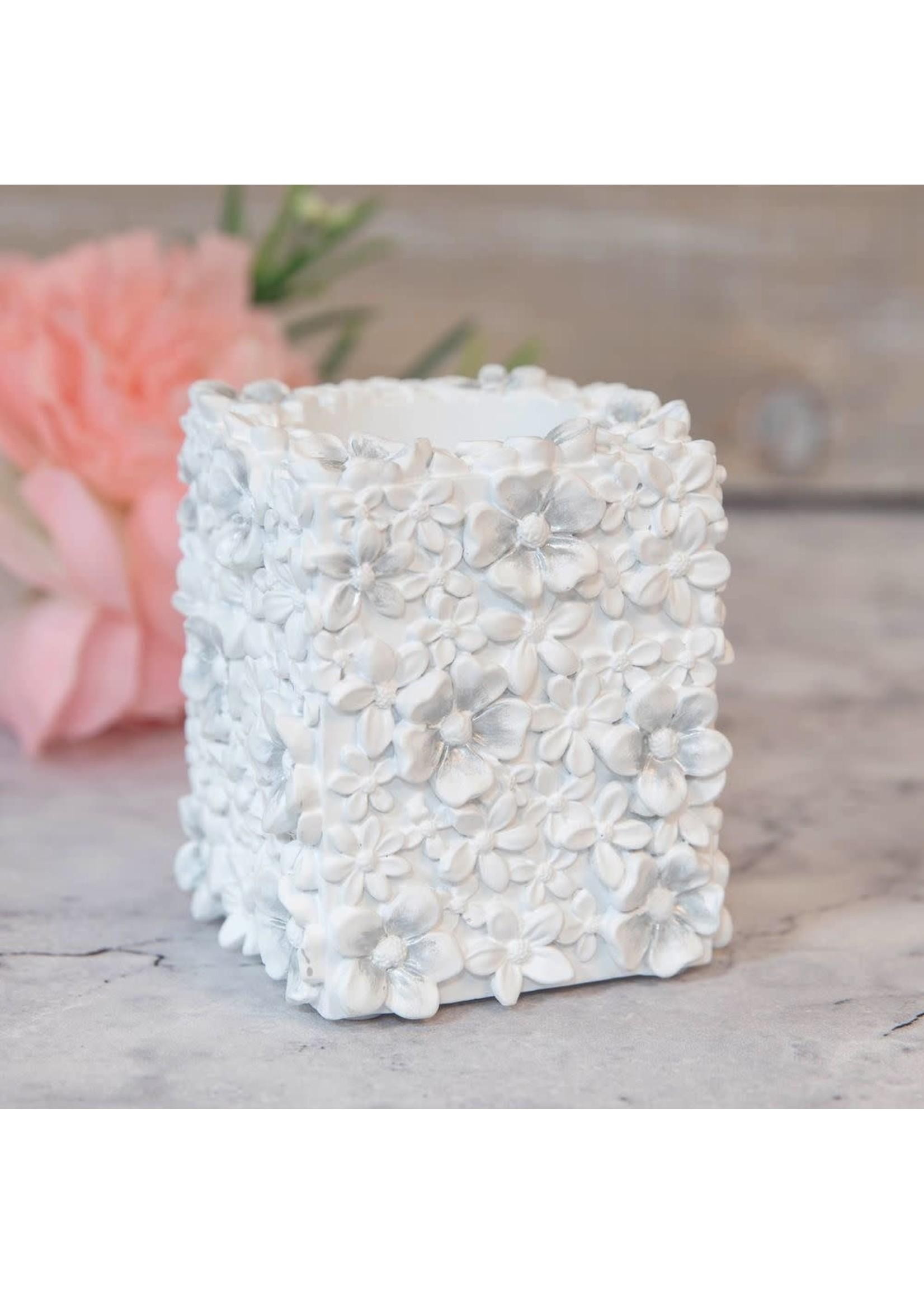 SOPHIA® WHITE FLORAL RESIN TEALIGHT CANDLE HOLDER