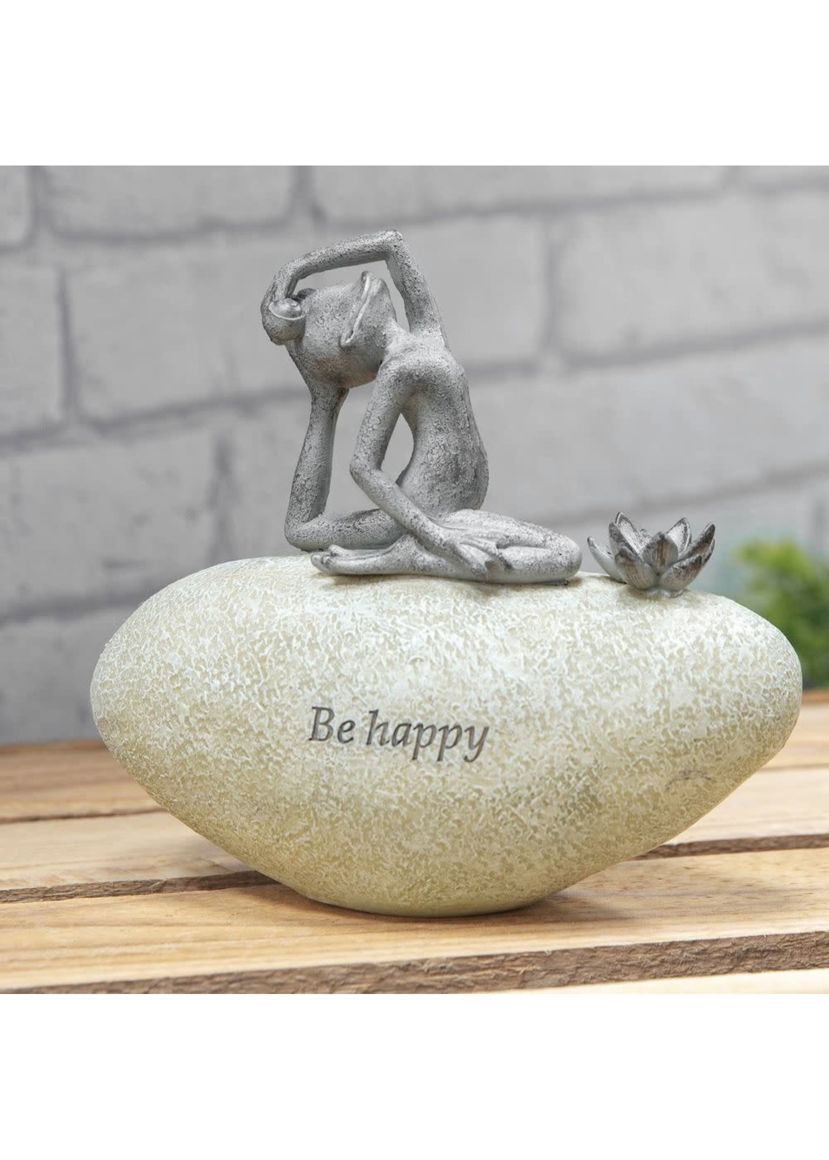 COUNTRY LIVING YOGA FROG ON A STONE - BE HAPPY