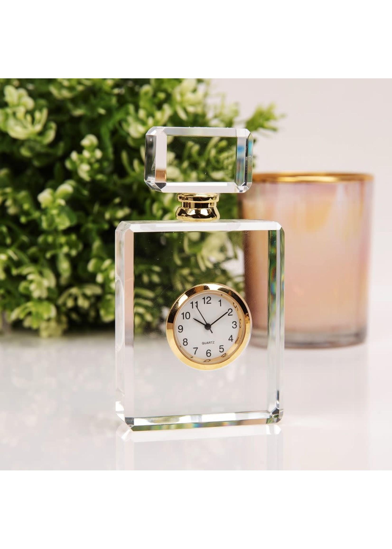 MINIATURE GLASS CLOCK - PERFUME BOTTLE