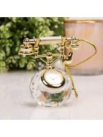 MINIATURE GLASS CLOCK - TELEPHONE