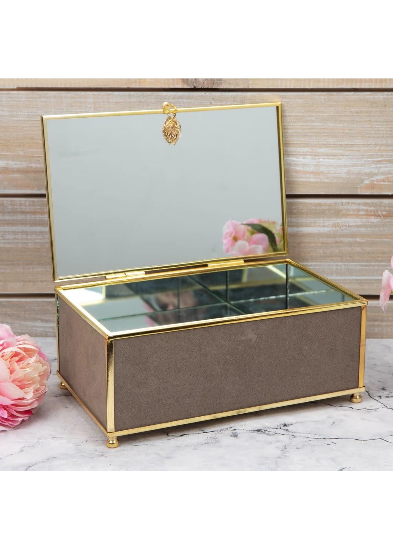 SOPHIA GREY JEWELLERY BOX WITH GOLD LEAF DETAIL - MEDIUM