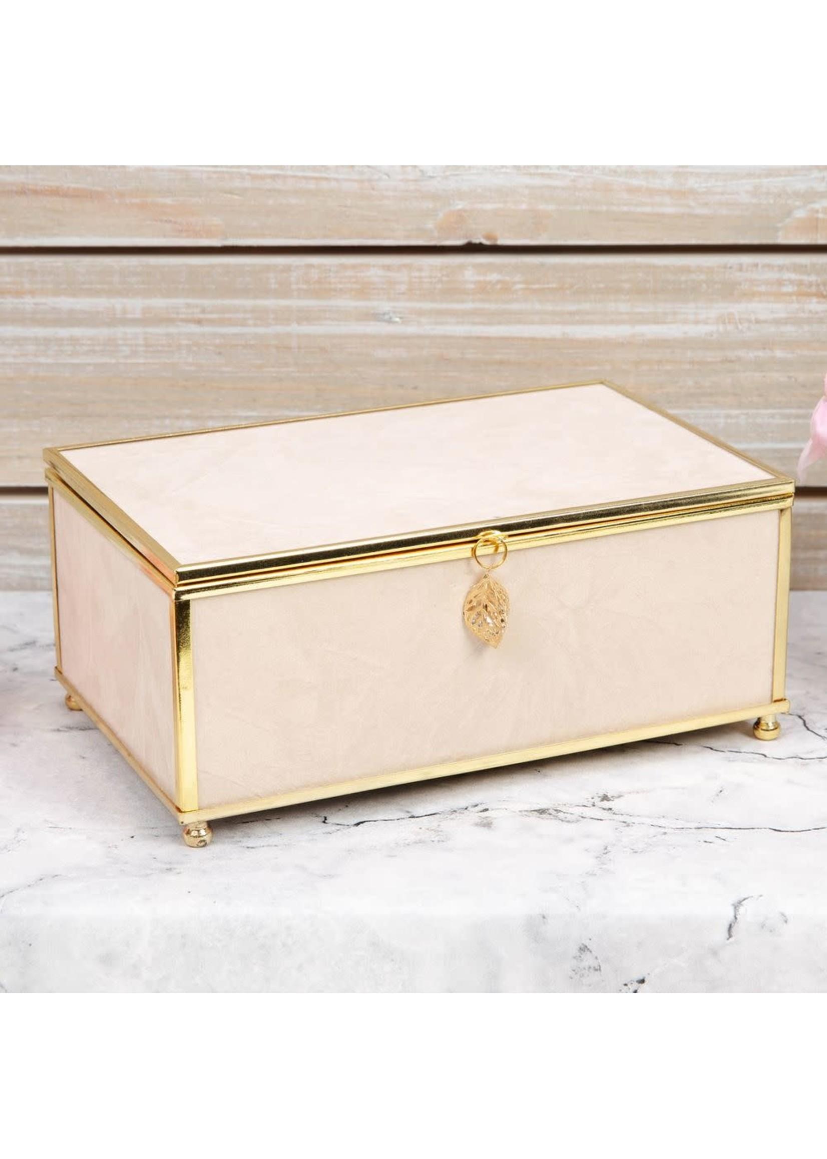 SOPHIA NUDE JEWELLERY BOX WITH GOLD LEAF DETAIL - MEDIUM