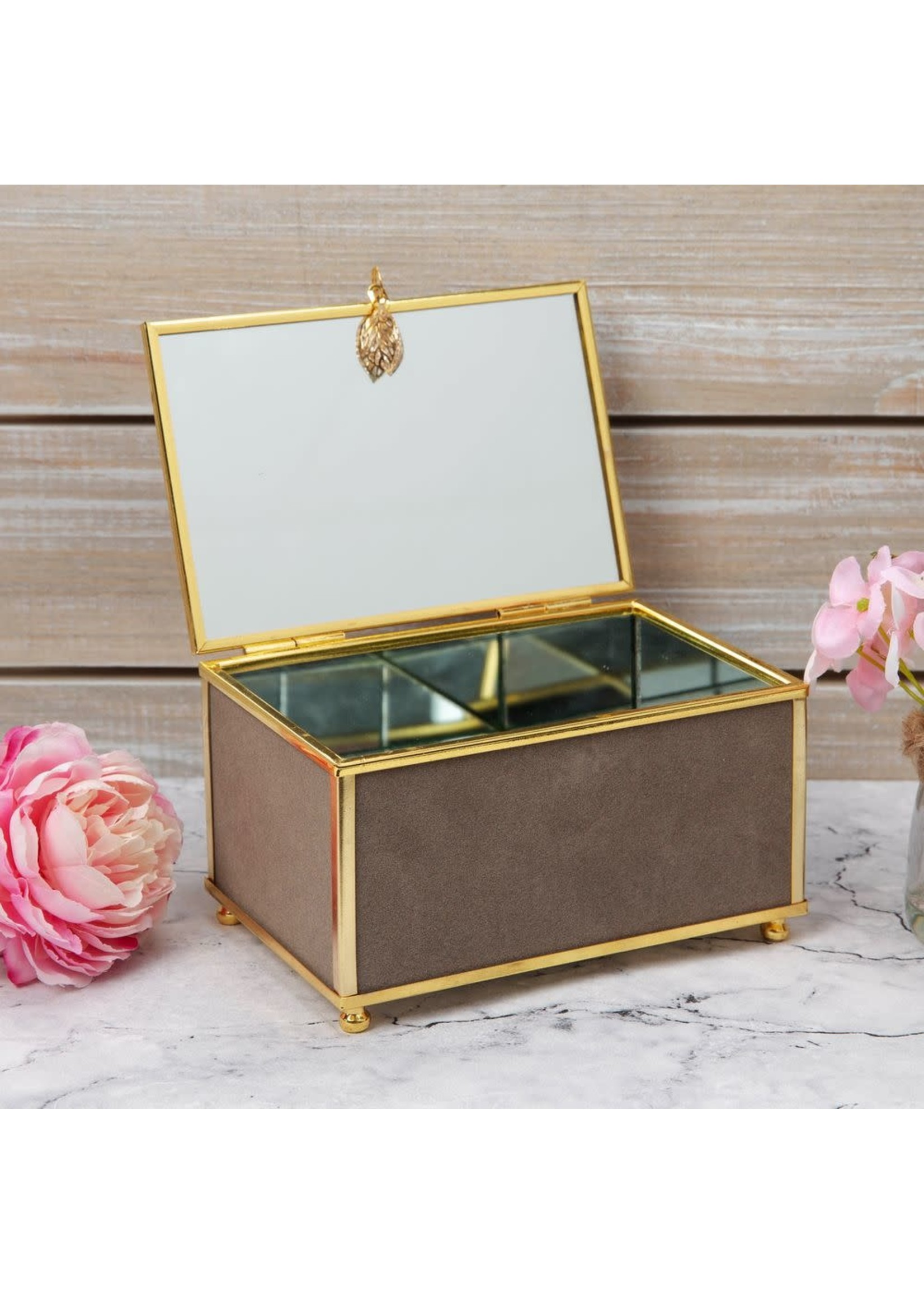 SOPHIA GREY JEWELLERY BOX WITH GOLD LEAF DETAIL - SMALL