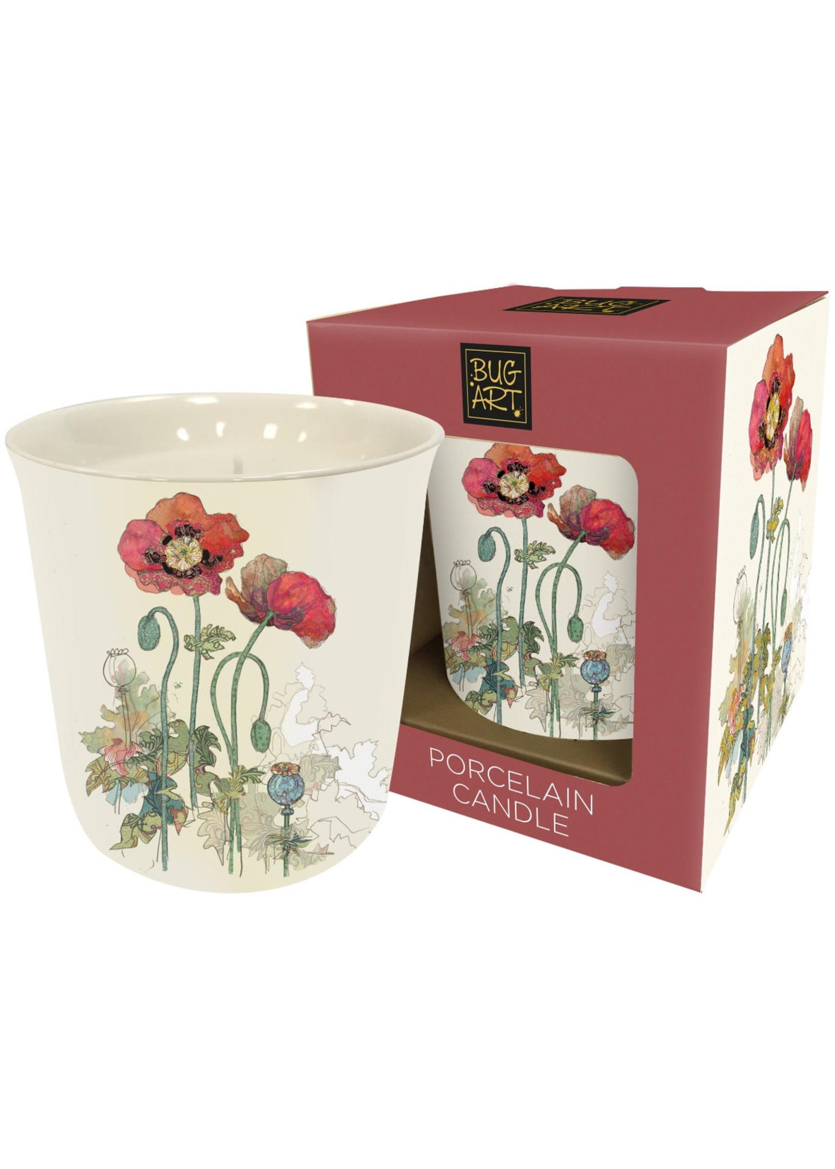 Watercolour Poppy Ceramic Candle