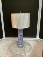Navy patterned table lamp 76cm tall