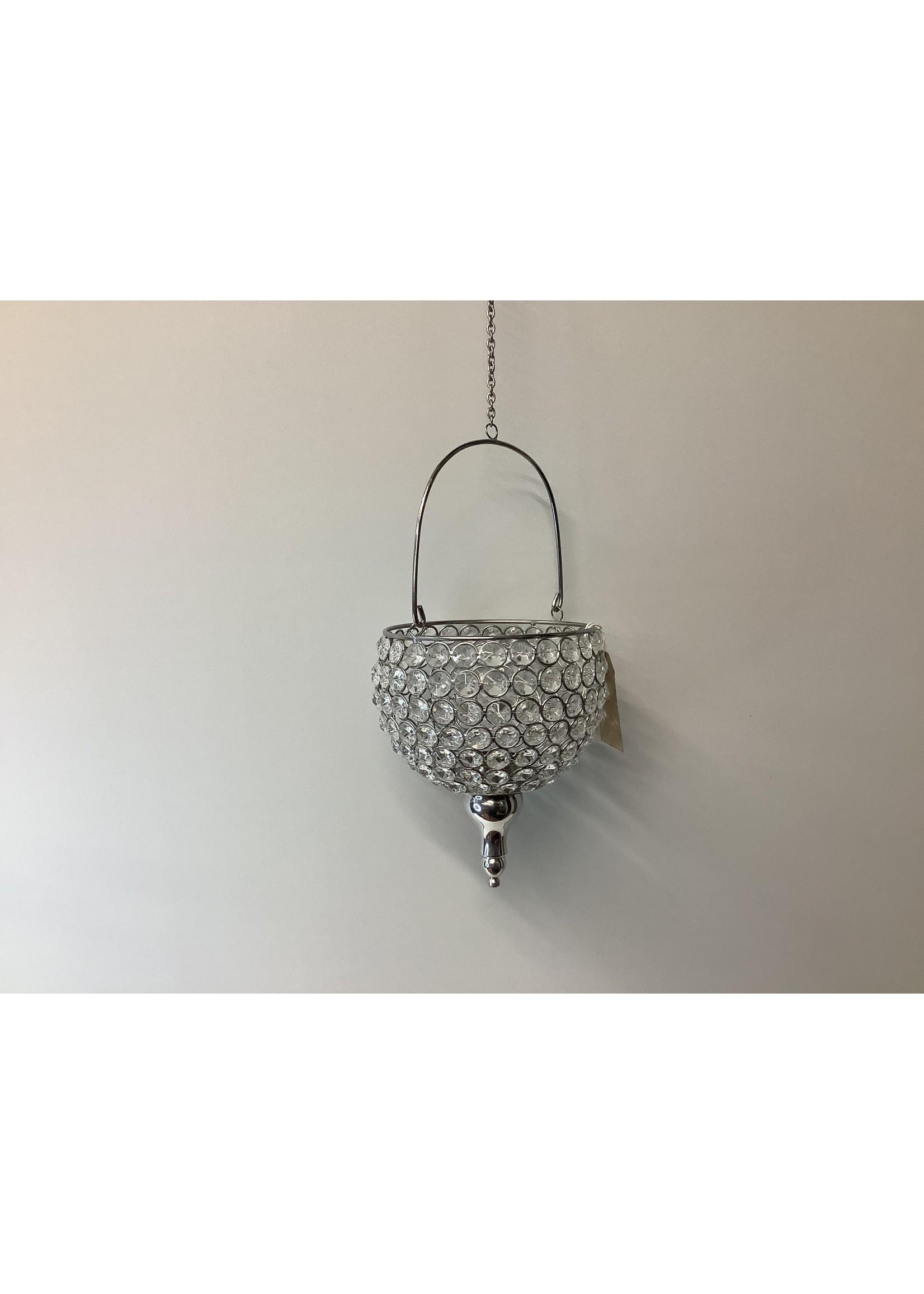 Crystal hanging tea light holder 16cm