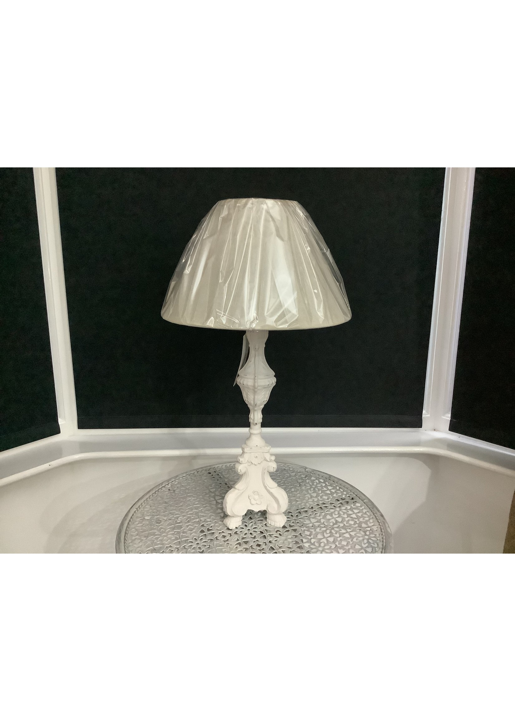 White Wooden affect table lamp 60cm