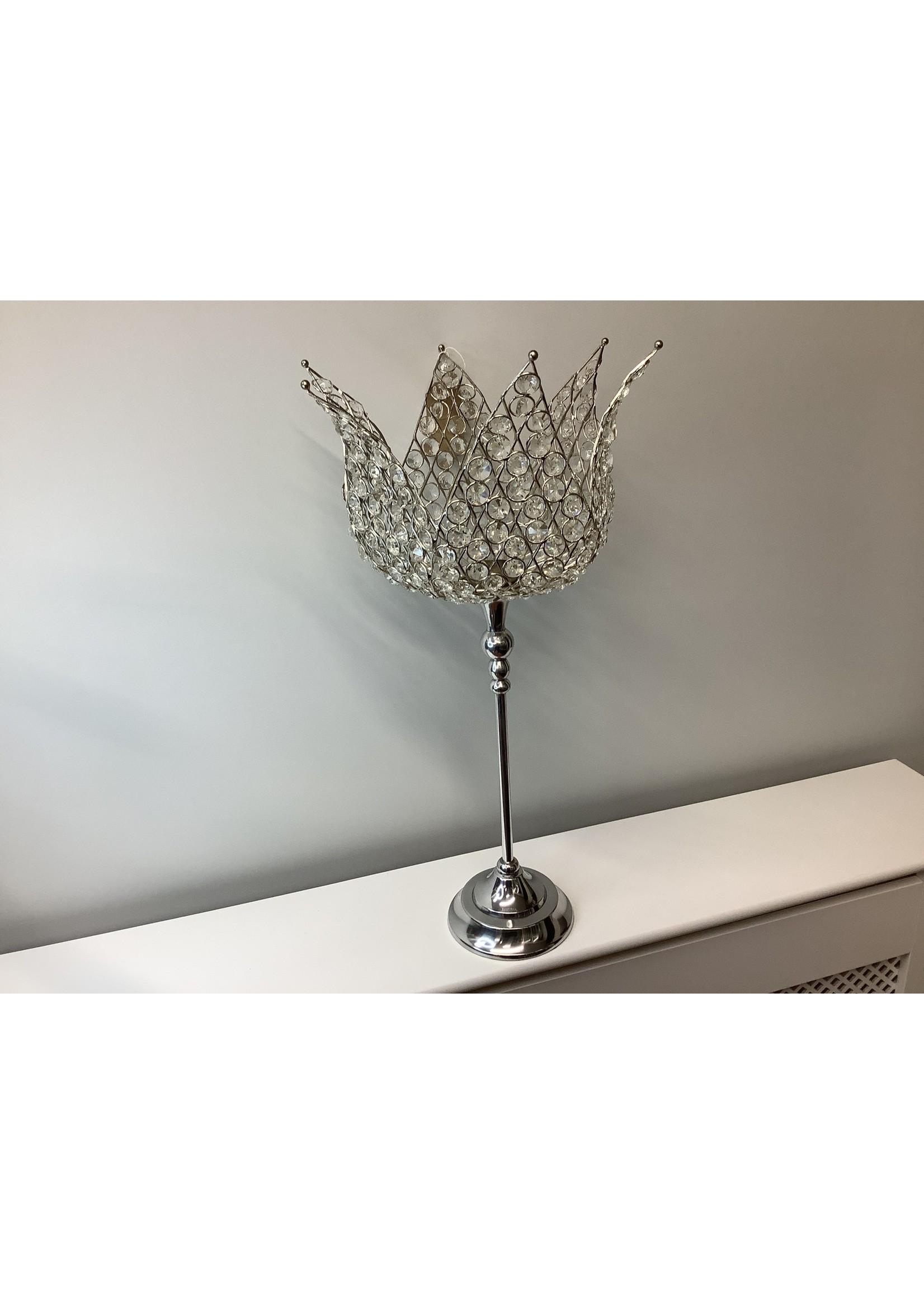 Crystal flower shape tea light holder 30x59cm