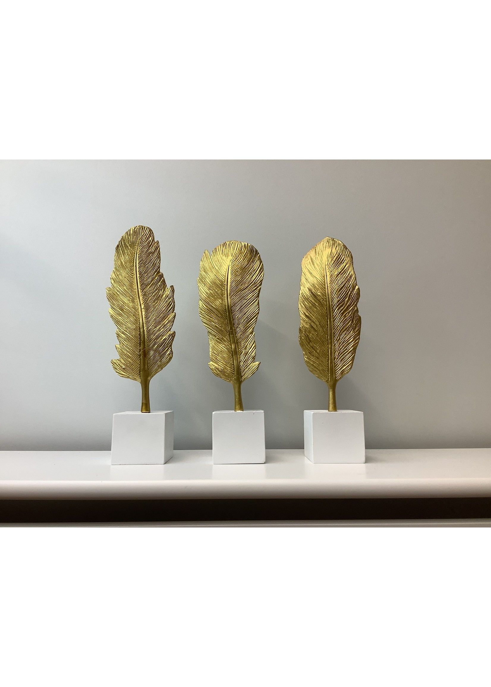 Gold  Feather on white base 24cm tall set of 3