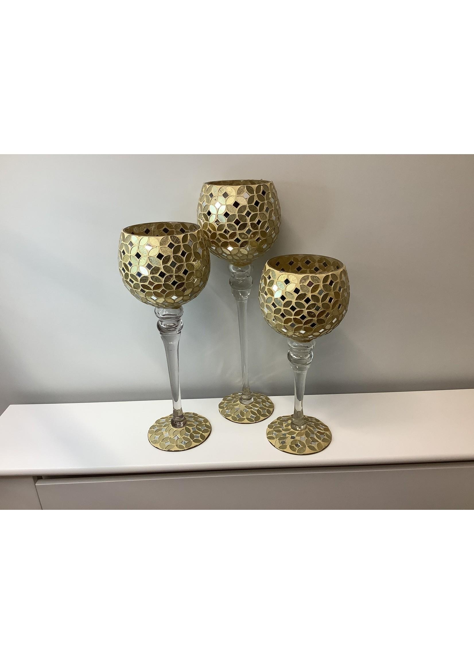 Gold Goblet Candle Holder set of 3
