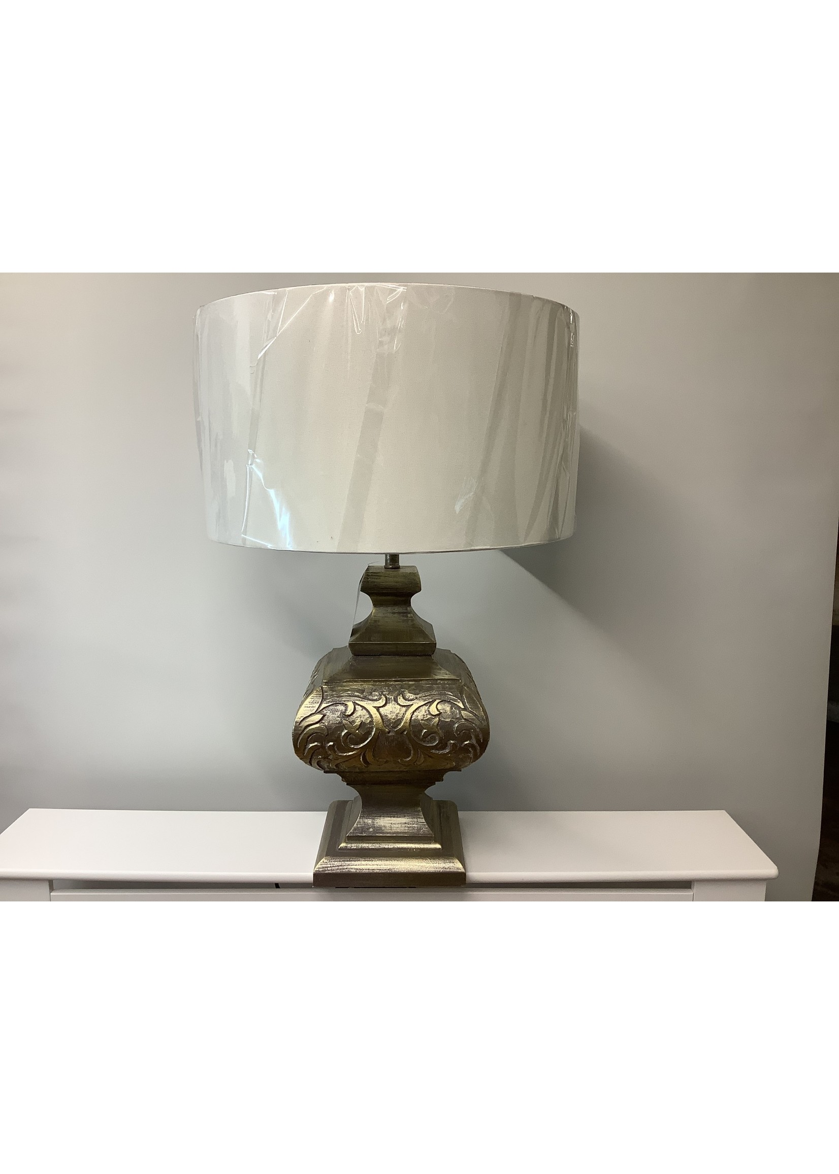 Large Gold rub affect lamp 74cm tall x 49cm wide