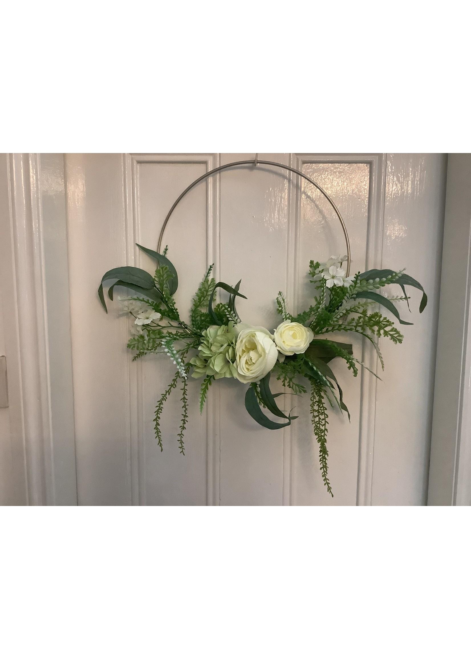 Metal Hoop with Cream Flowers 36cm