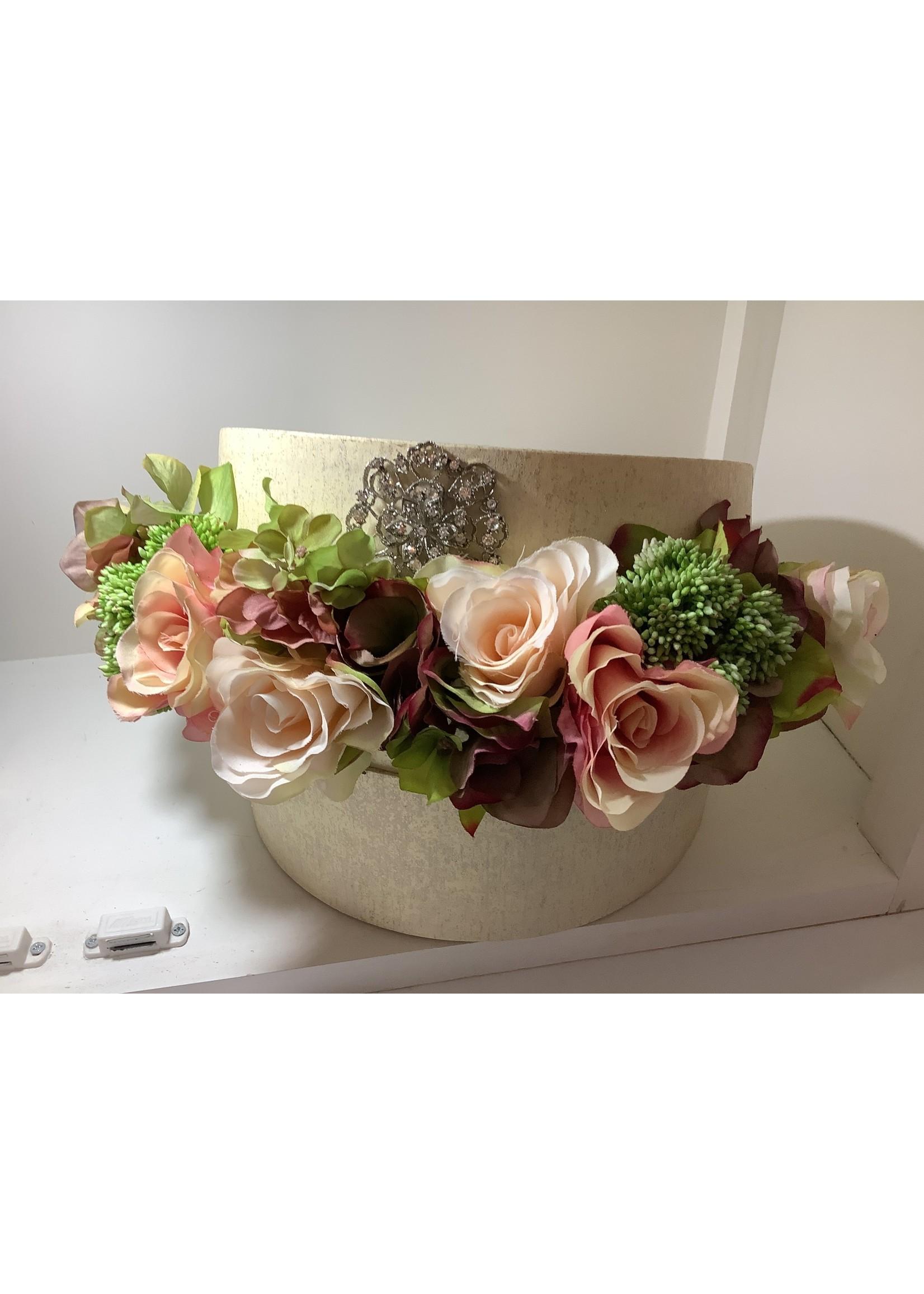 Artificial Hat Box Flower Arrangement Pink & Green 33X23CM
