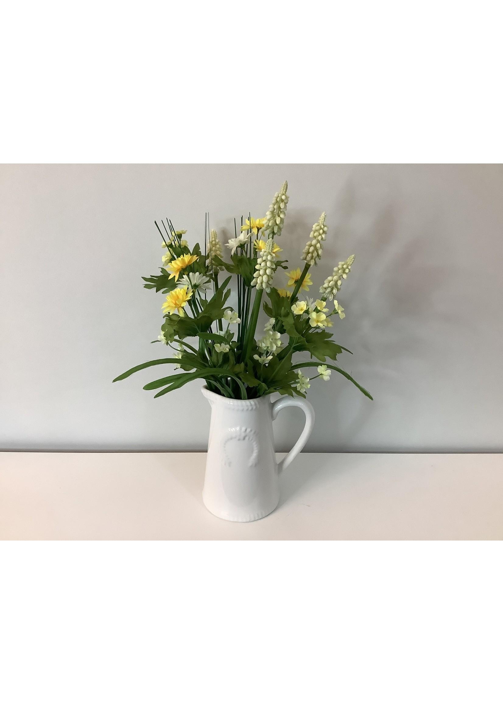 Hyacinth & Daisy in White jug