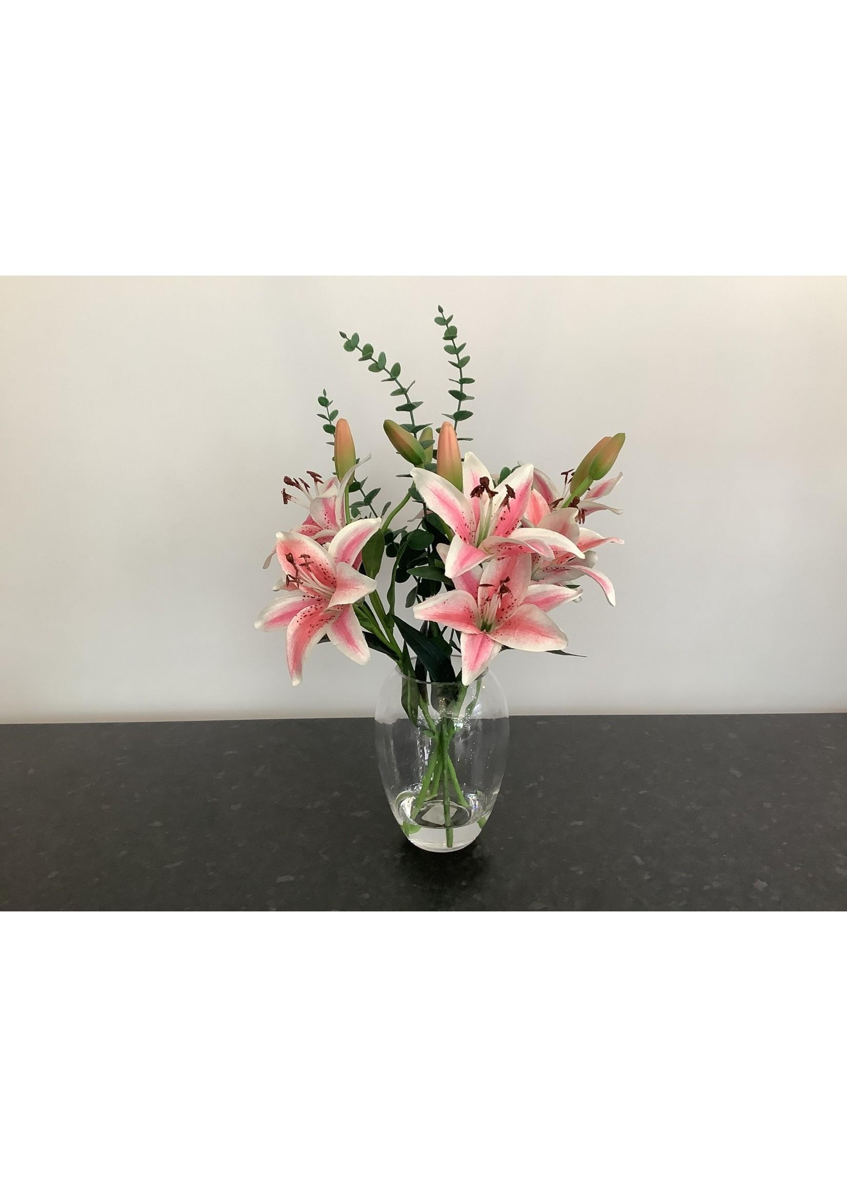 Lily & Eucalyptus in Vase