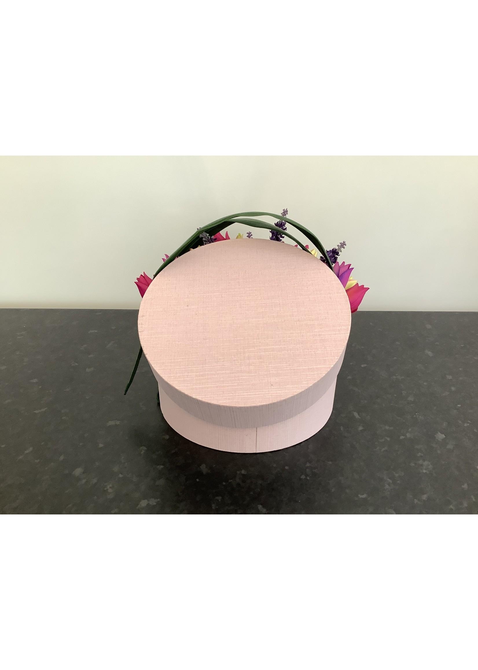Artificial Hat Box Flower Arrangement Pink 25cm box