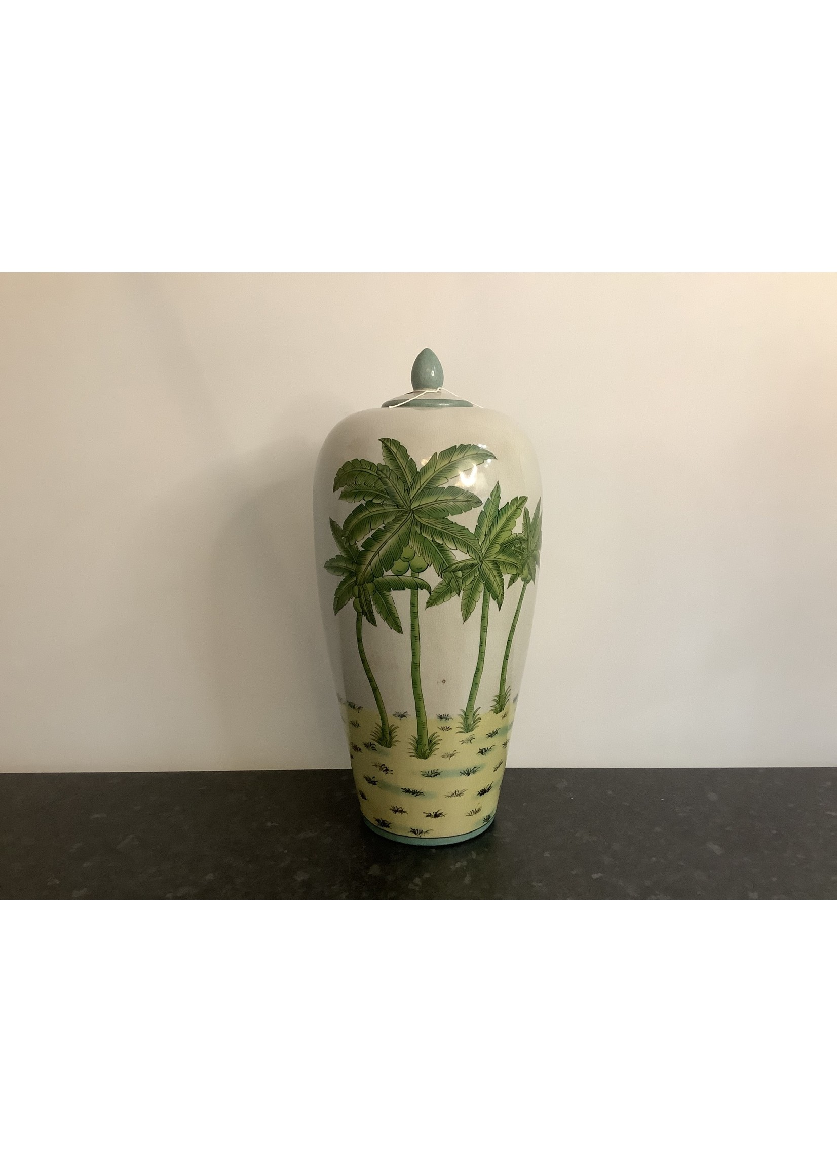 Large palm tree vase with lid 46x20cm