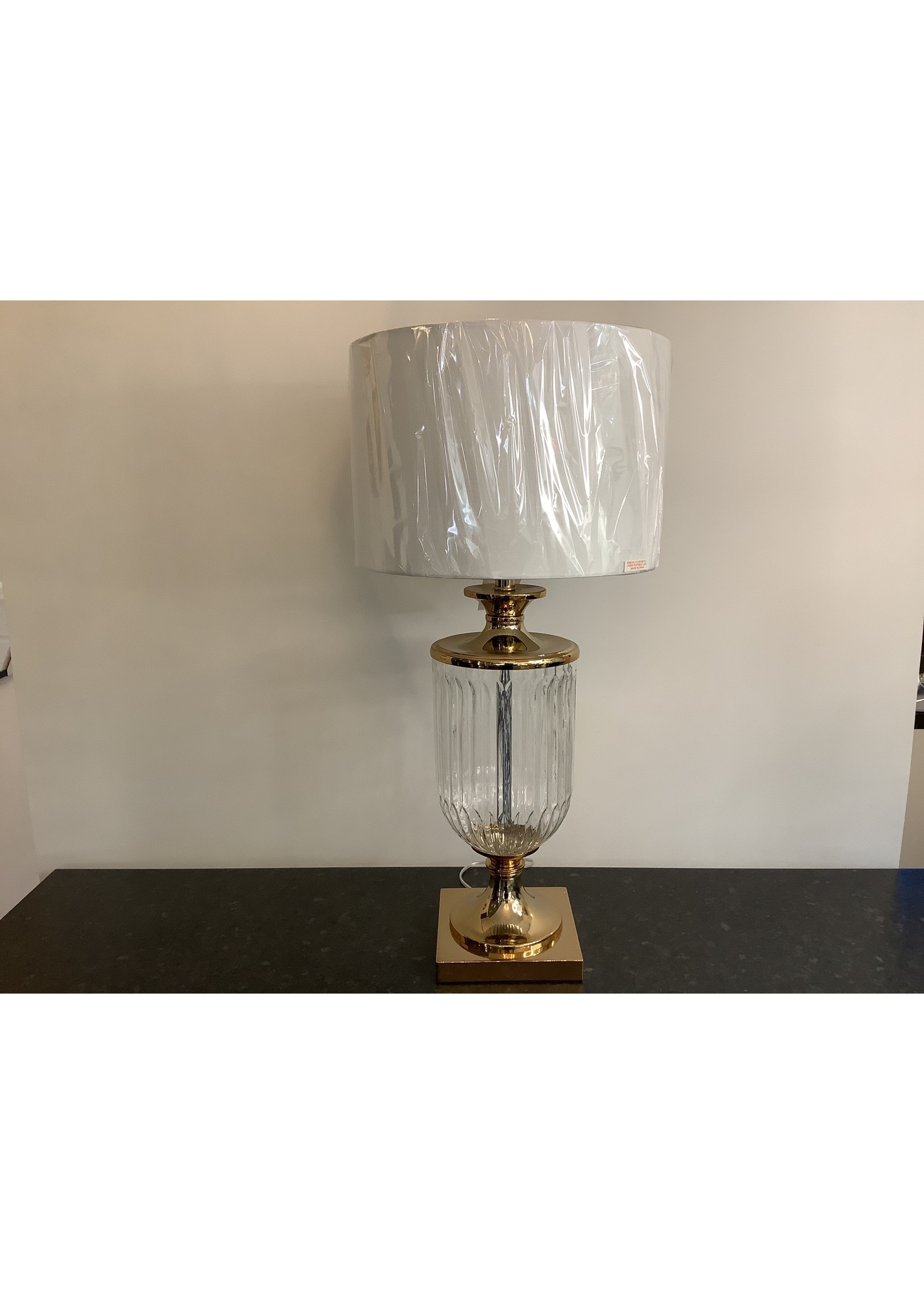 Lamp Glass & Gold With White Shade 79cm x 38cm
