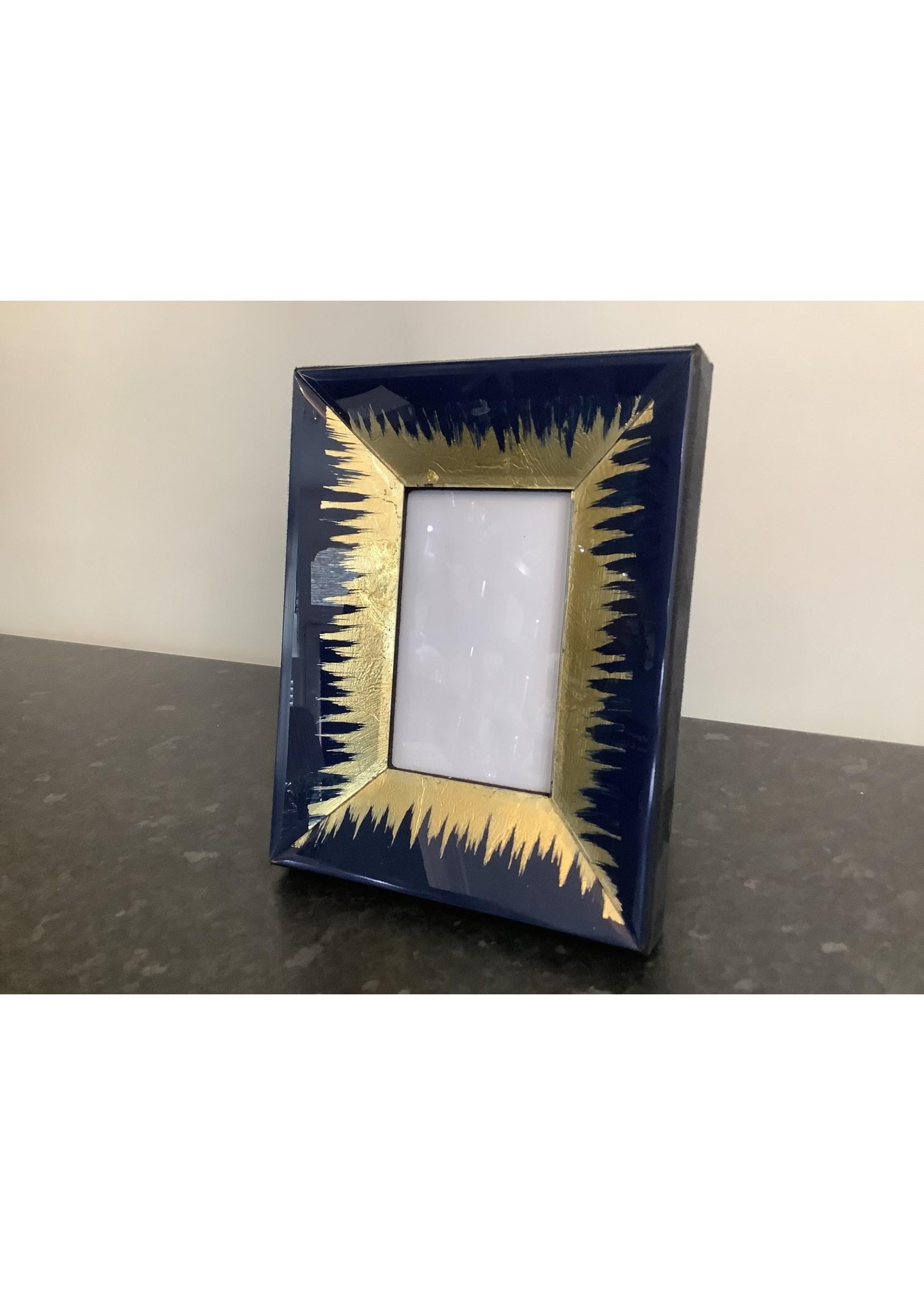 """Frame Blue & Gold leaf 3.1/2"""" x 5.1/2"""""""