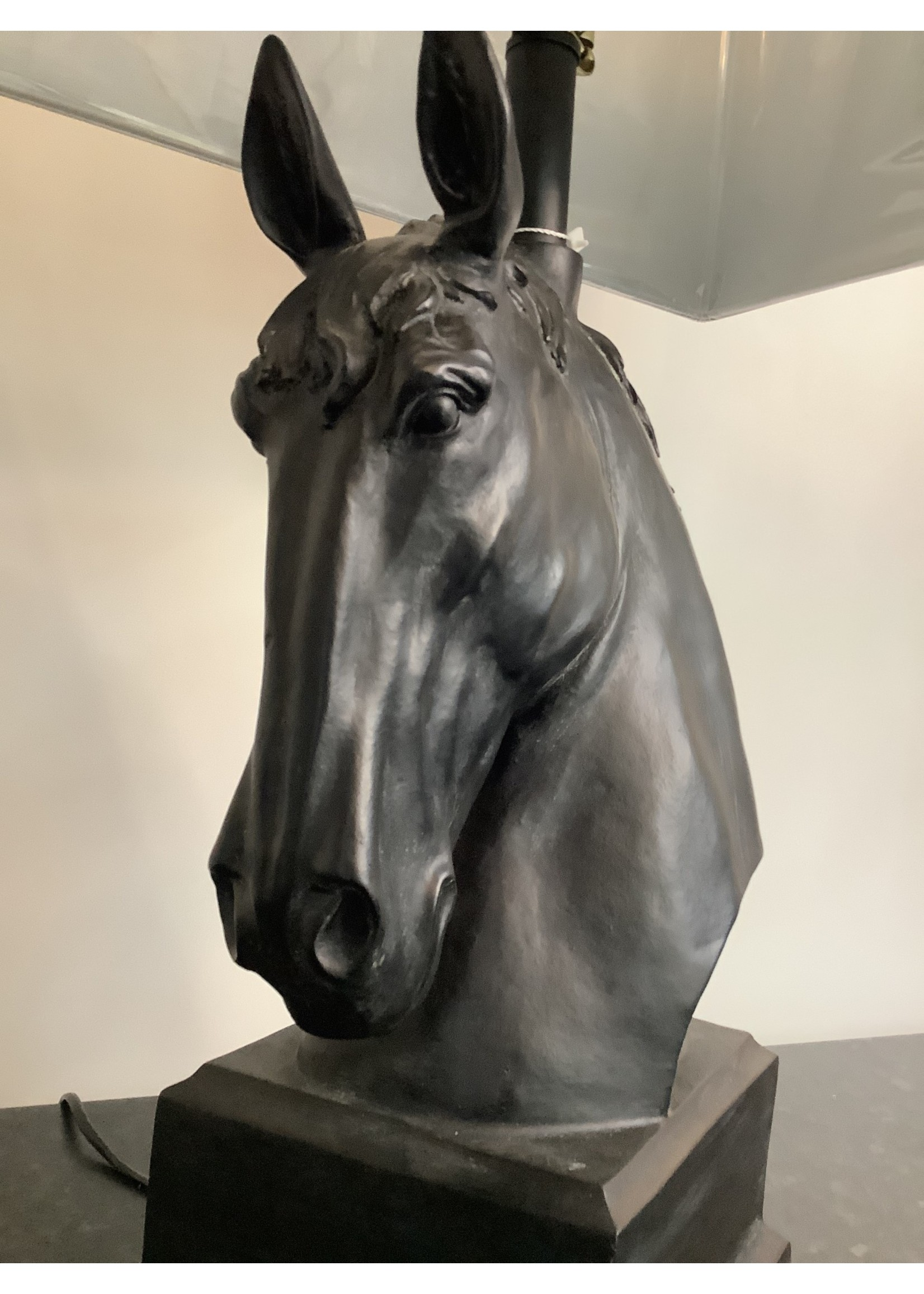 Lamp Horses Head with black shade 74cm tall x  47cm wide