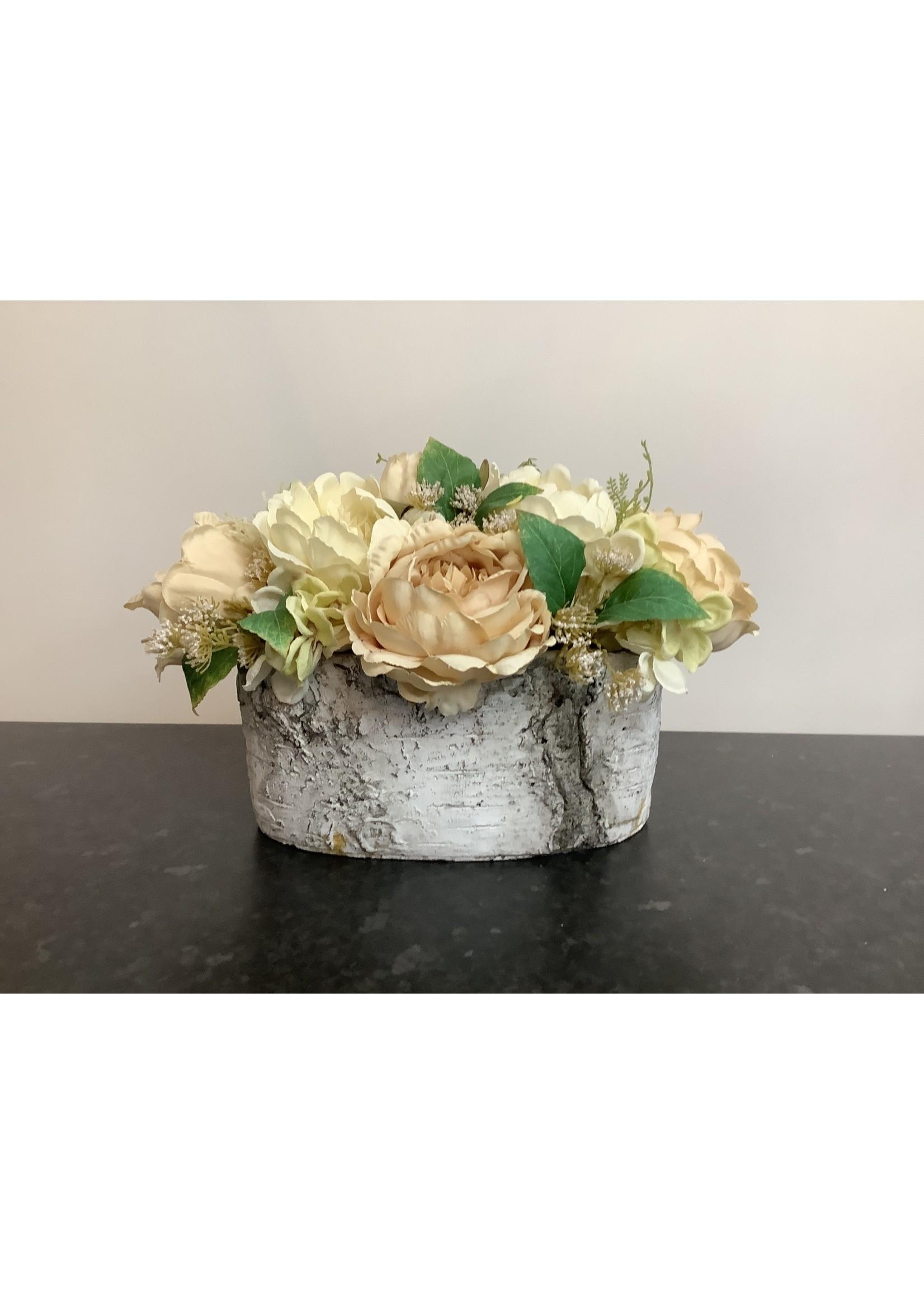 Vintage flowers in oval vase 24x22cm