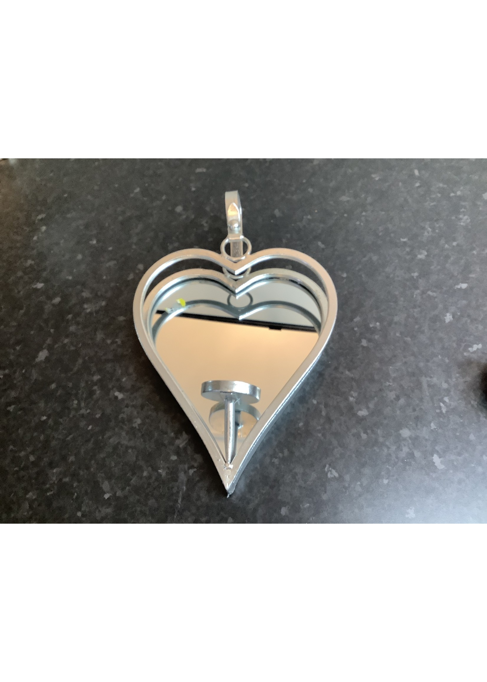Mirrored heart wall candle holder