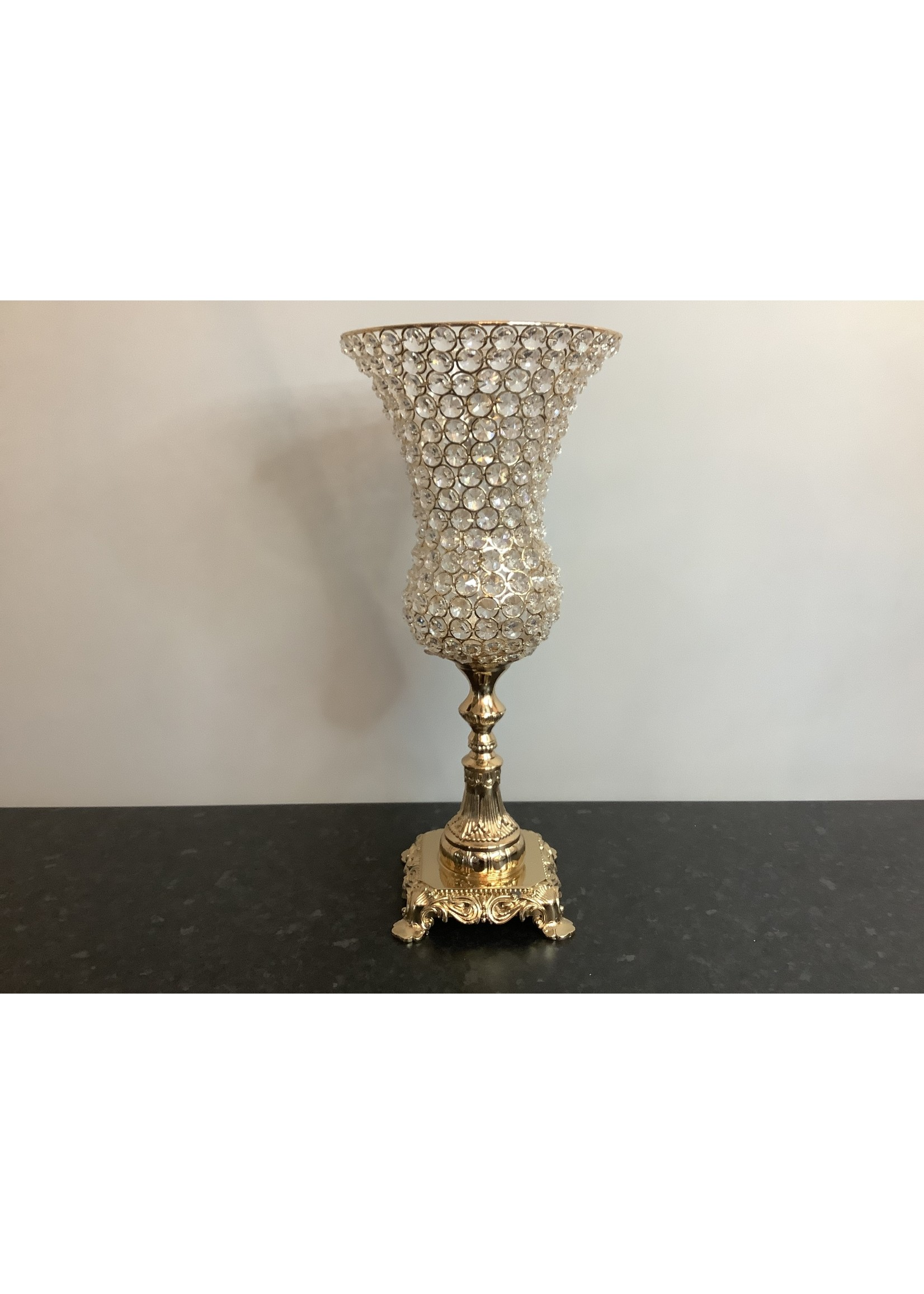 Golden crystal vase 47cm tall